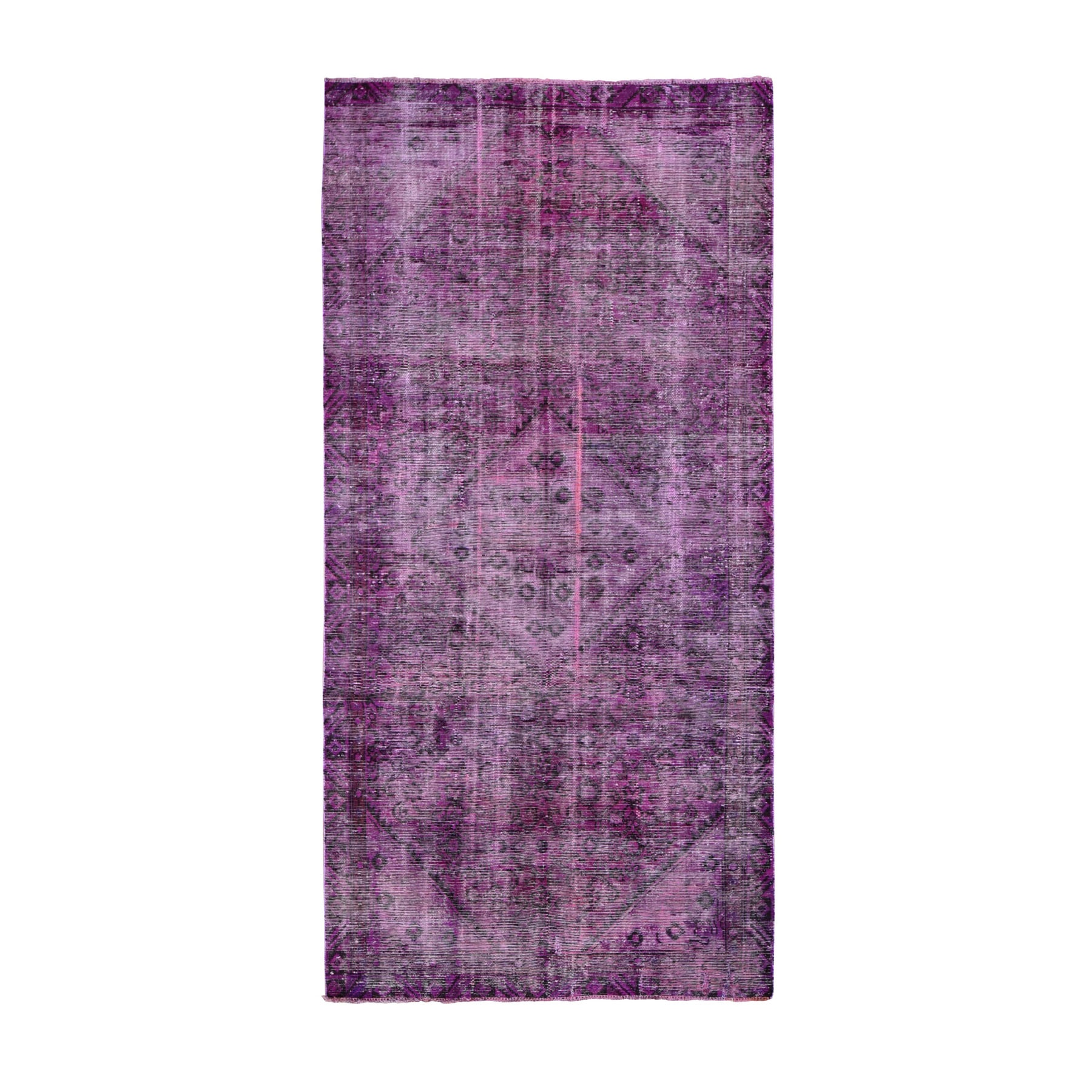 """4'7""""X9'8"""" Pink Gallery Size Pink Overdyed Persian Hamadan Worn Wool Hand Knotted Oriental Rug moae9a98"""