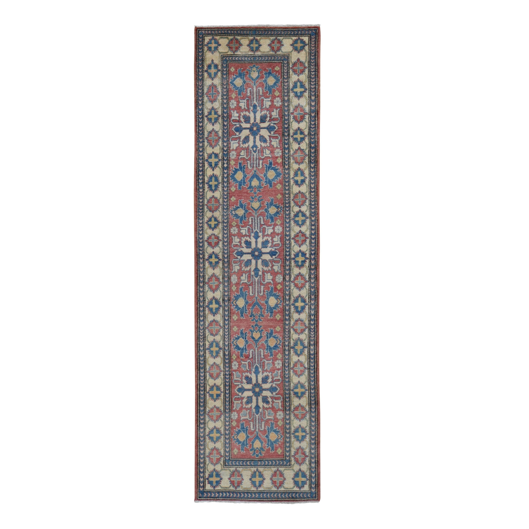 "2'7""X10' Red Kazak Runner Tribal Design Hand Knotted Pure Wool Oriental Rug moae9b0c"