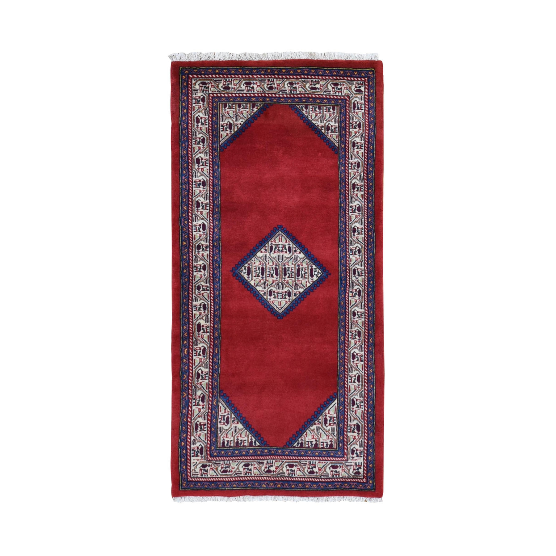 "2'9""X6'1"" Red New Persian Sarouk Mir Open Field Pure Wool Hand Knotted Oriental Rug moae9b0e"
