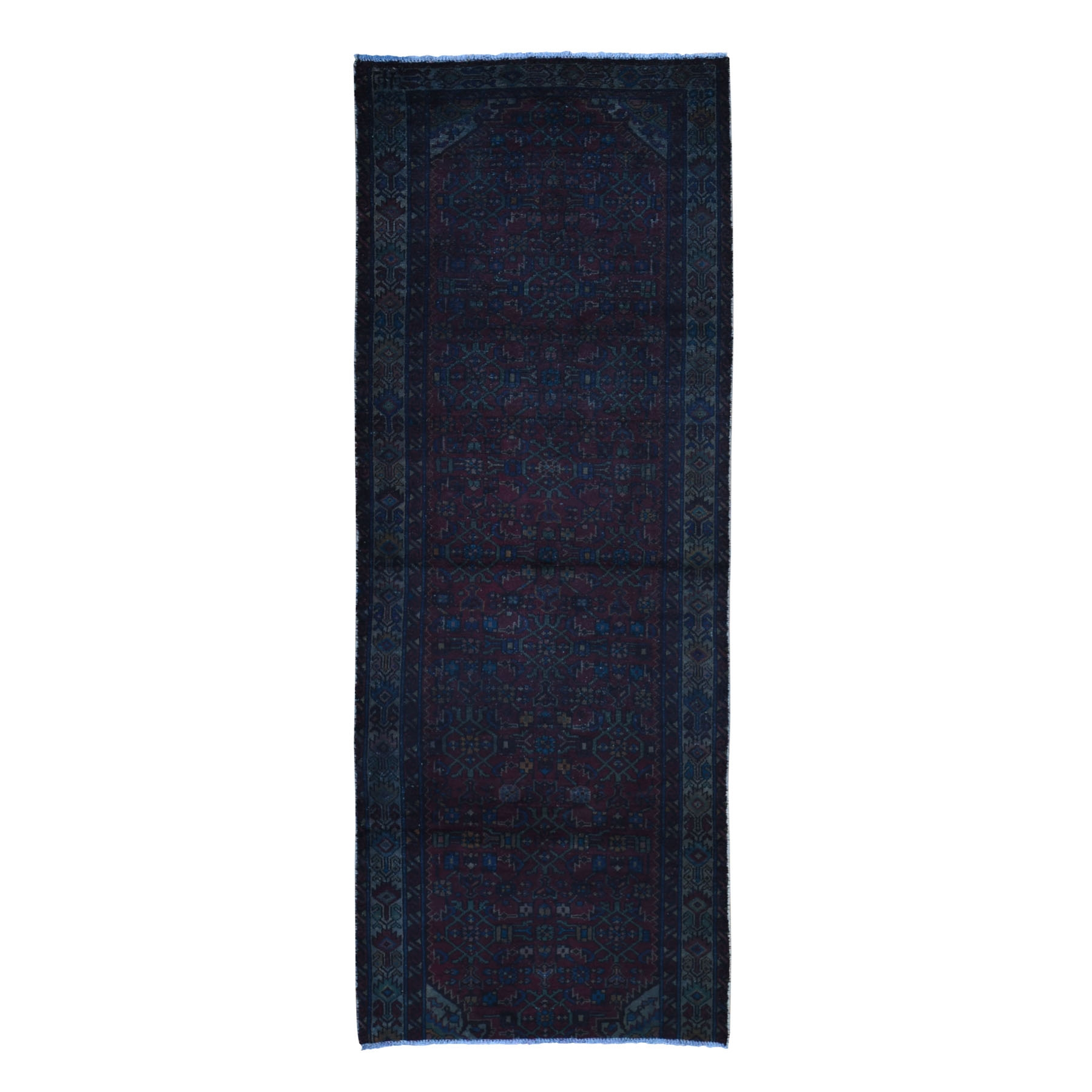 """3'6""""X9'1"""" Overdyed Persian Malayer Wide Runner Worn Wool Hand Knotted Oriental Rug moae9ba0"""