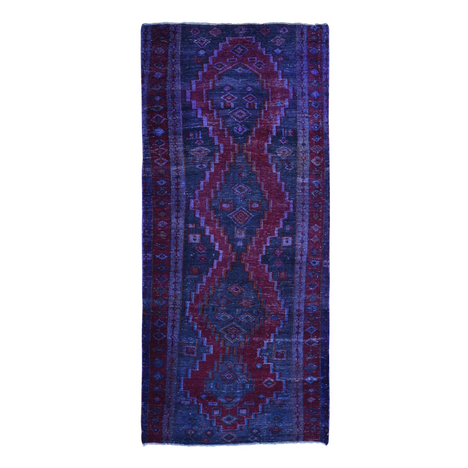 "4'1""X10' Gallery Size Overdyed Persian Hamadan Worn Wool Hand Knotted Oriental Rug moae9baa"