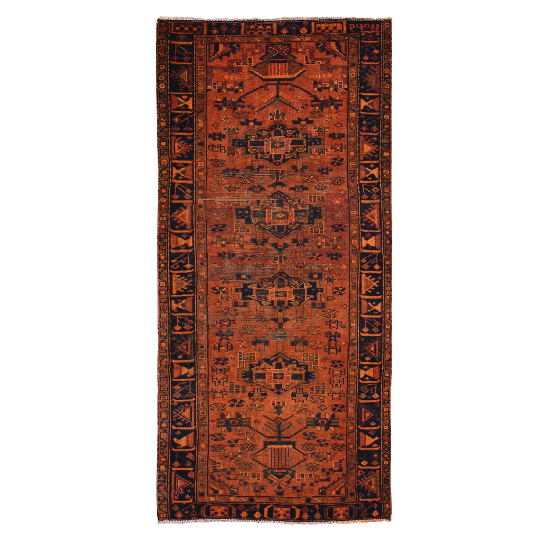 "4'4""X9'5"" Wide Runner Orange Overdyed Hamadan Worn Wool Hand Knotted Oriental Rug moae9bab"