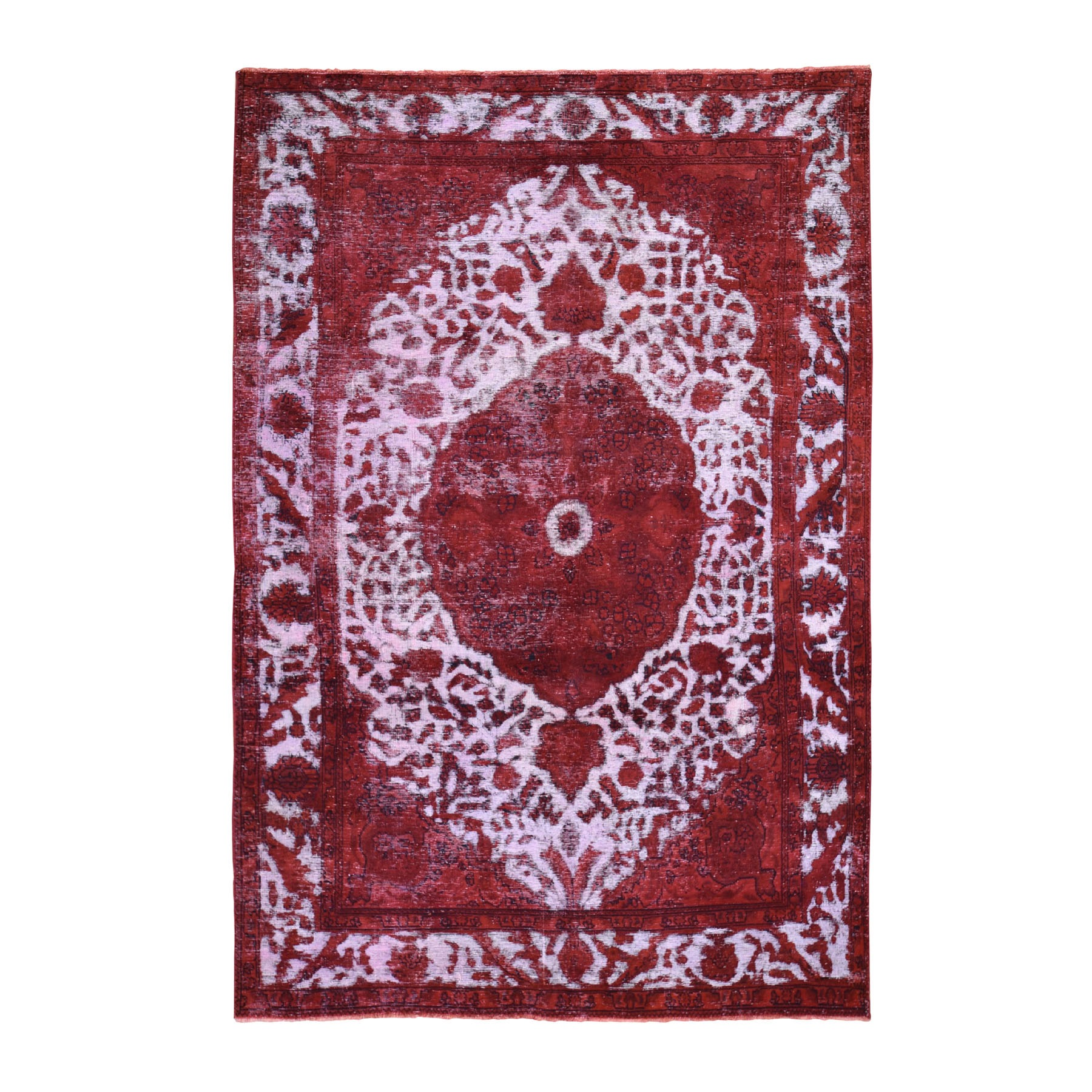 "6'6""x9'8"" Red Overdyed Persian Tabriz Worn Wool Hand Knotted Oriental Rug"