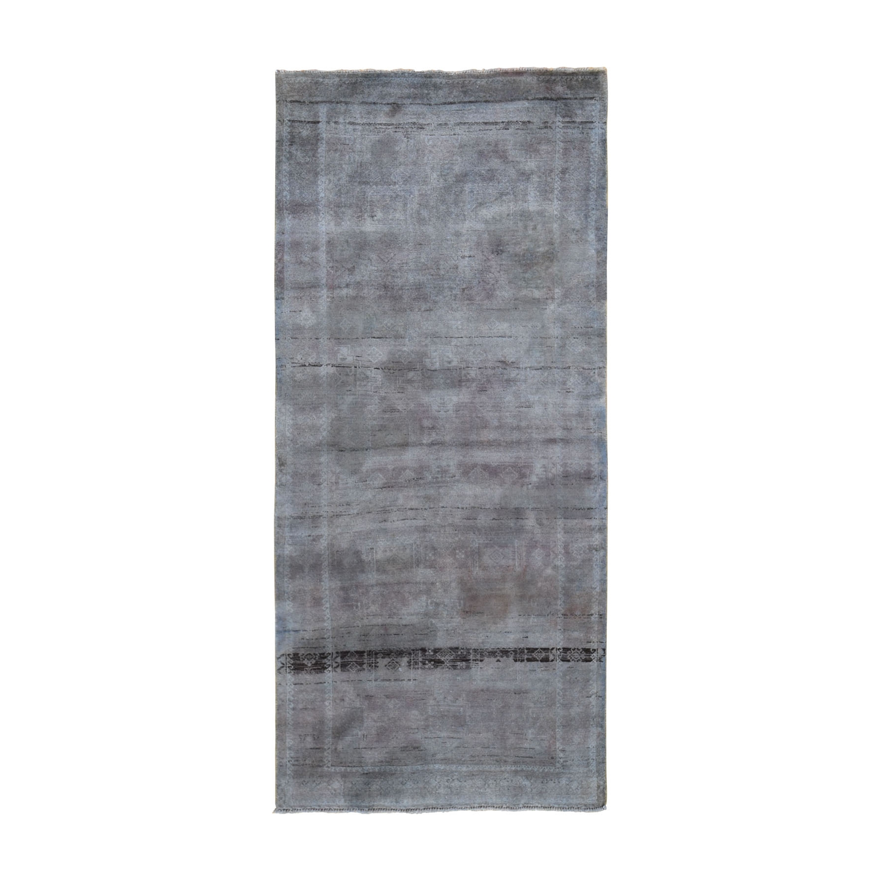 """3'8""""X4'8"""" Vintage Distressed Colors With Abrash Turkoman Wide Runner Hand Knotted Oriental Rug moae9ba7"""