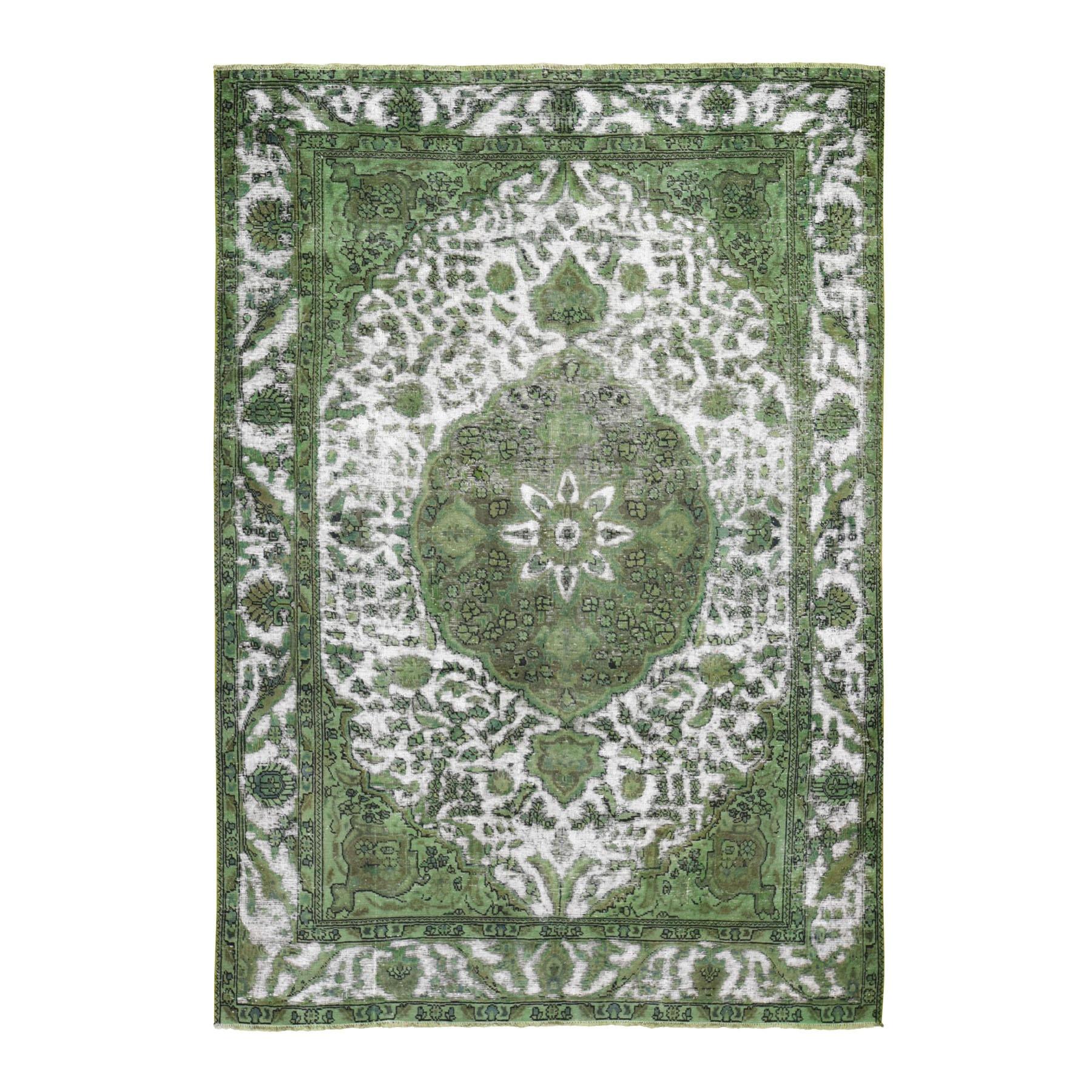 "6'7""X9'7"" Pistachio Green Overdyed Persian Tabriz Barjasta Worn Wool Hand Knotted Oriental Rug moae9ba9"