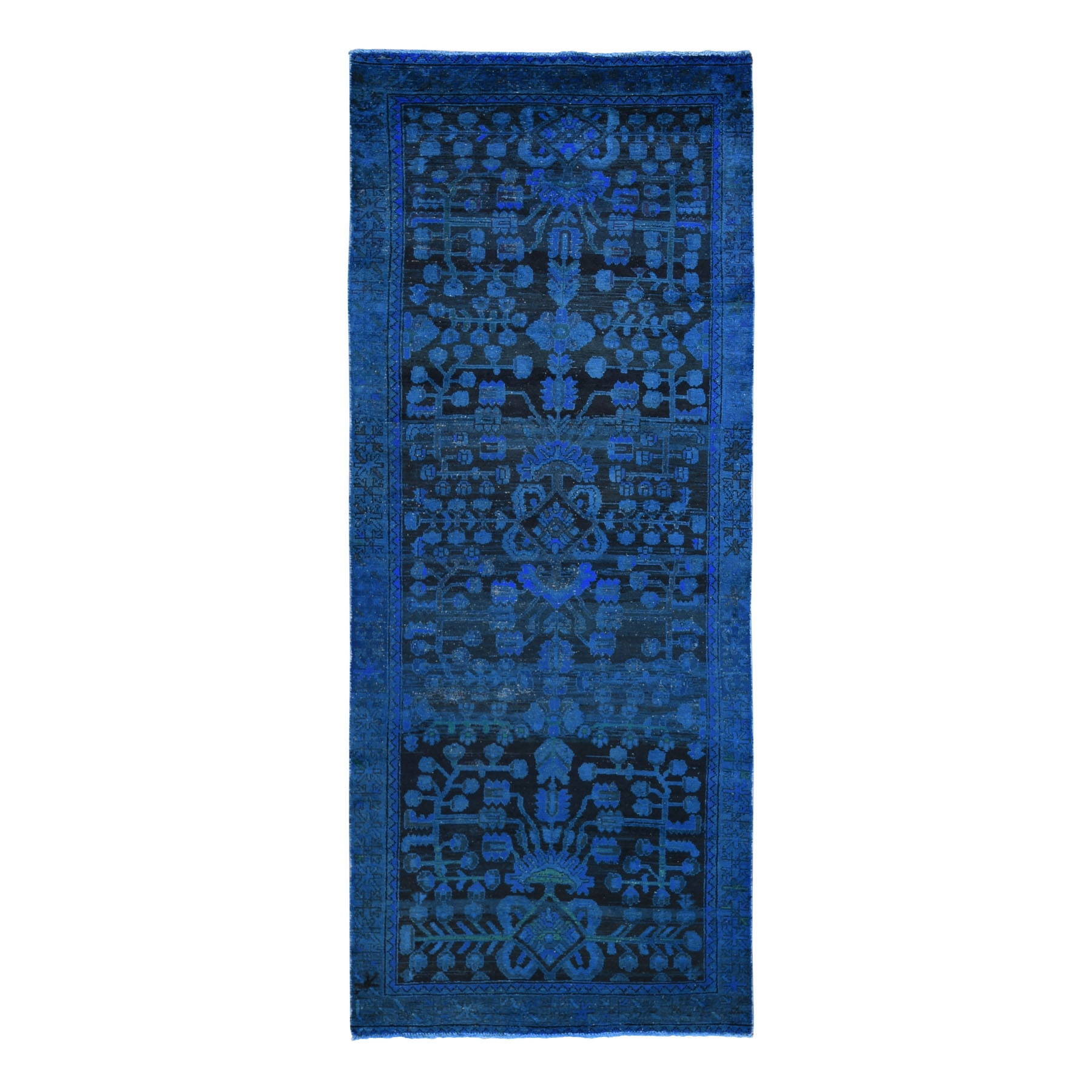 """3'8""""X9'3"""" Wide Runner Blue Overdyed Persian Lilihan Worn Wool Hand Knotted Oriental Rug moae9bba"""