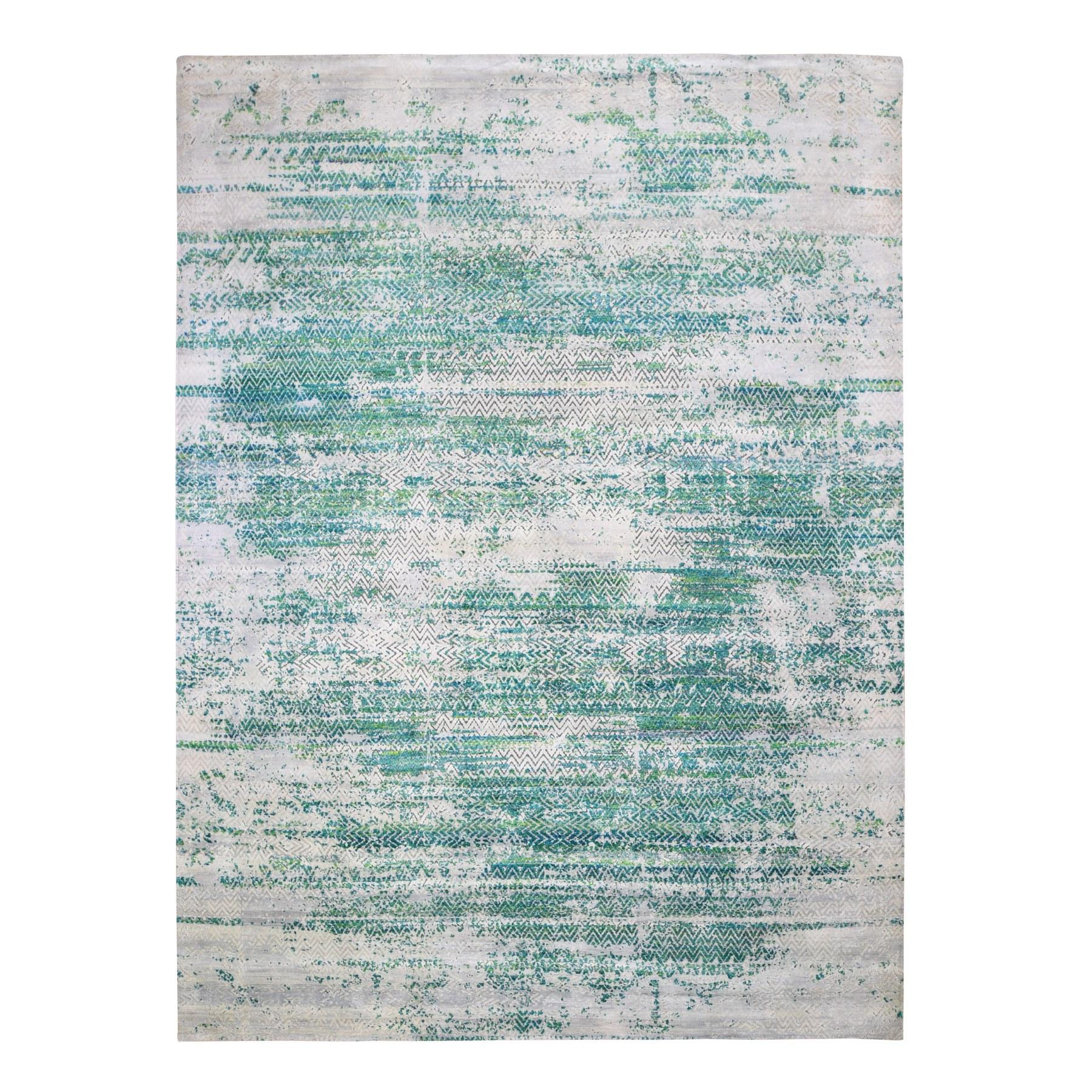 """8'10""""X12' Sari Silk With Textured Wool Green Erased Chevron Design Oriental Rug moae9bbd"""