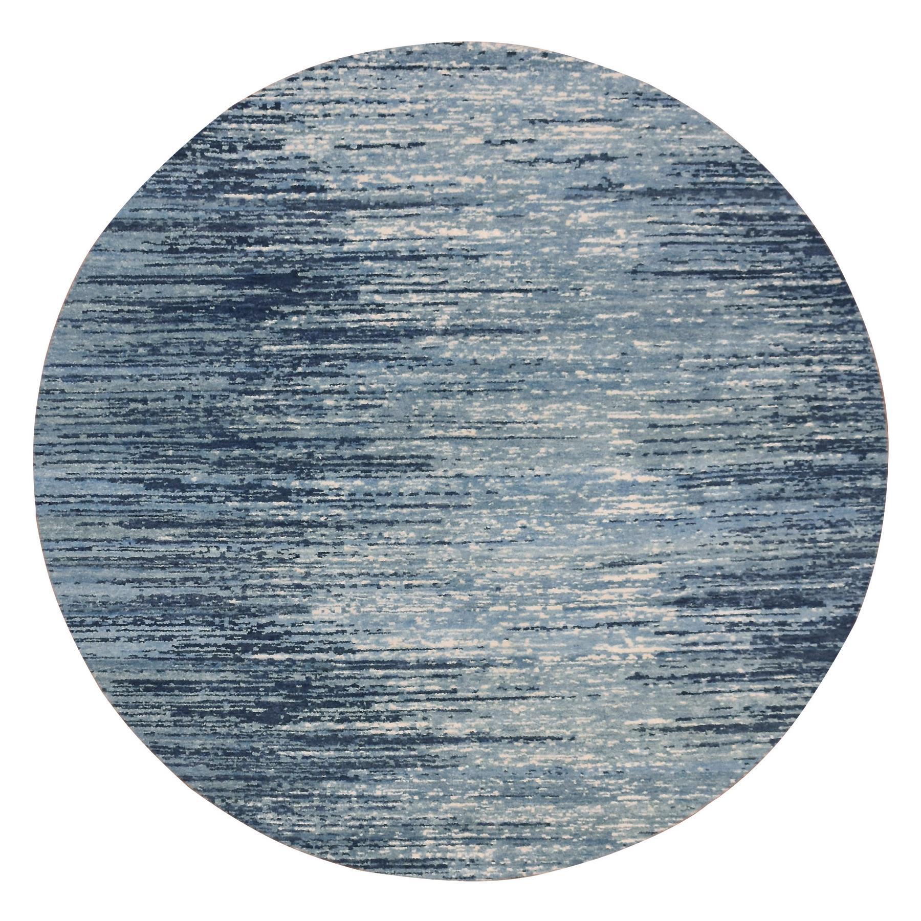 8'X8' Round Blue Broken Line Design Pure Wool Hand Knotted Oriental Rug moae9bca