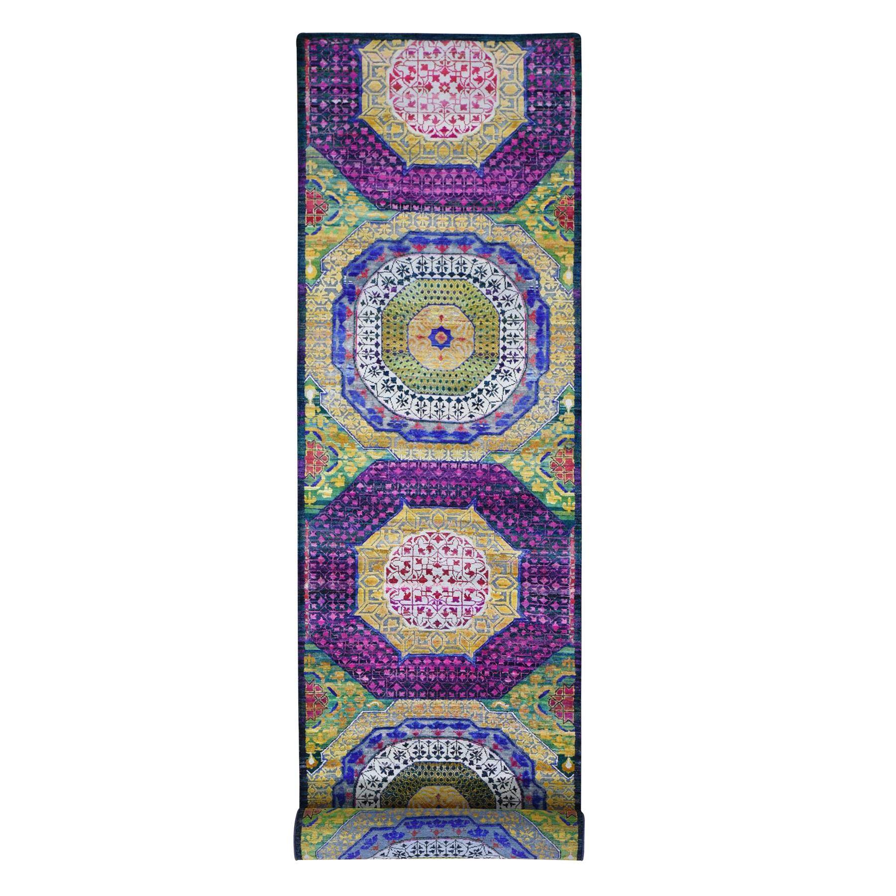 "3'2""x17'5"" Sari Silk with Textured Wool Mamluk Design XL Runner Oriental Rug"