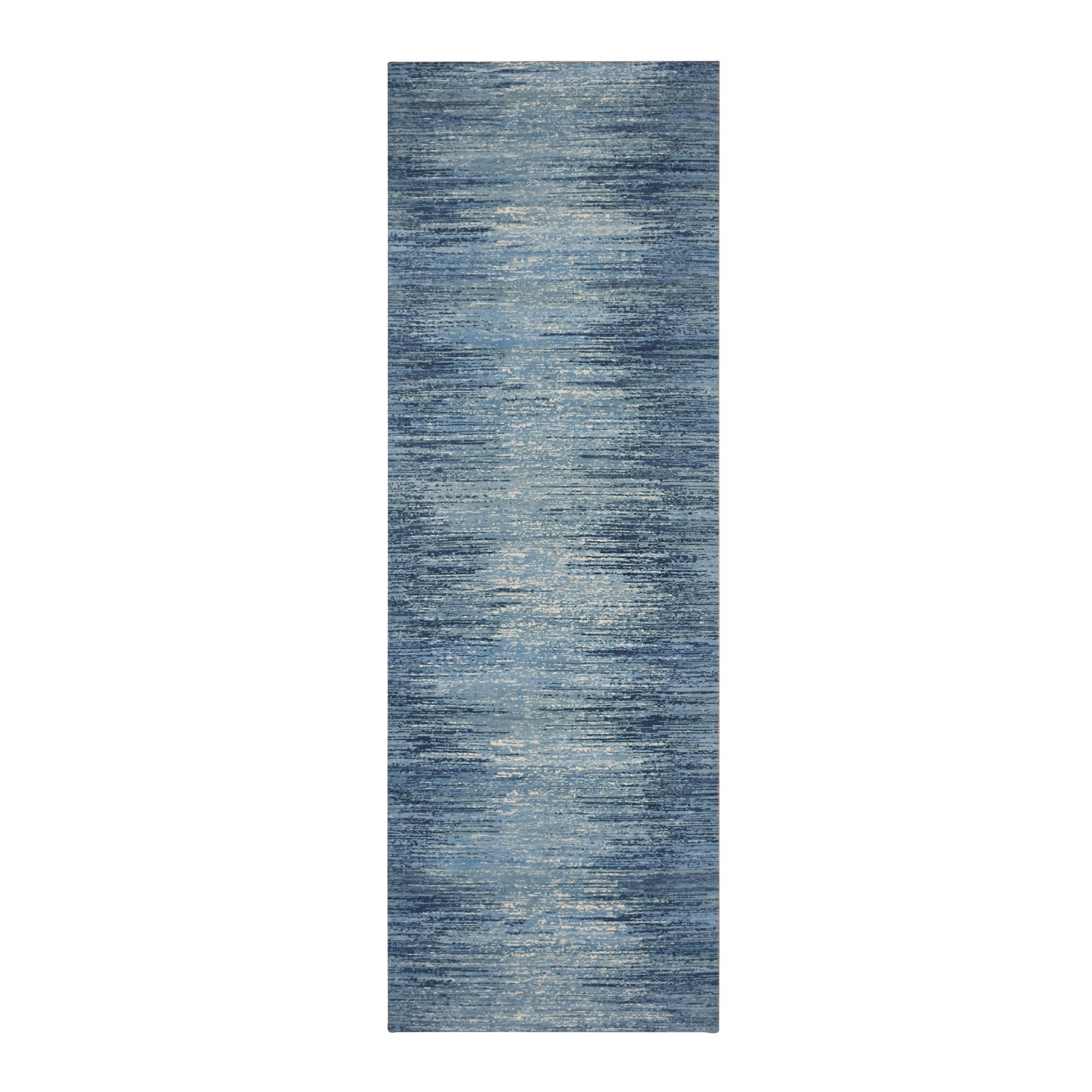 """2'6""""X8'4"""" Blue Broken Lines Design Pure Wool Runner Hand Knotted Oriental Rug moae9bc6"""