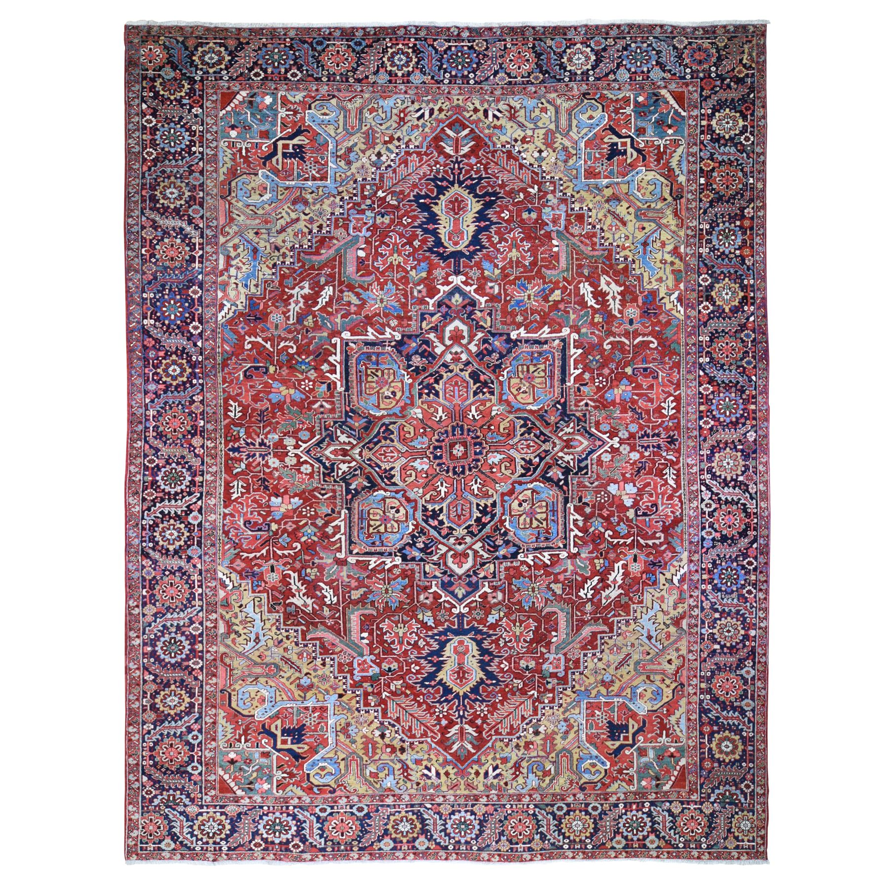 "12'X15'6"" Oversized Red Antique Persian Heriz Evern Wear Clean Camel Hair Corners Hand Knotted Oriental Rug moae9bc8"