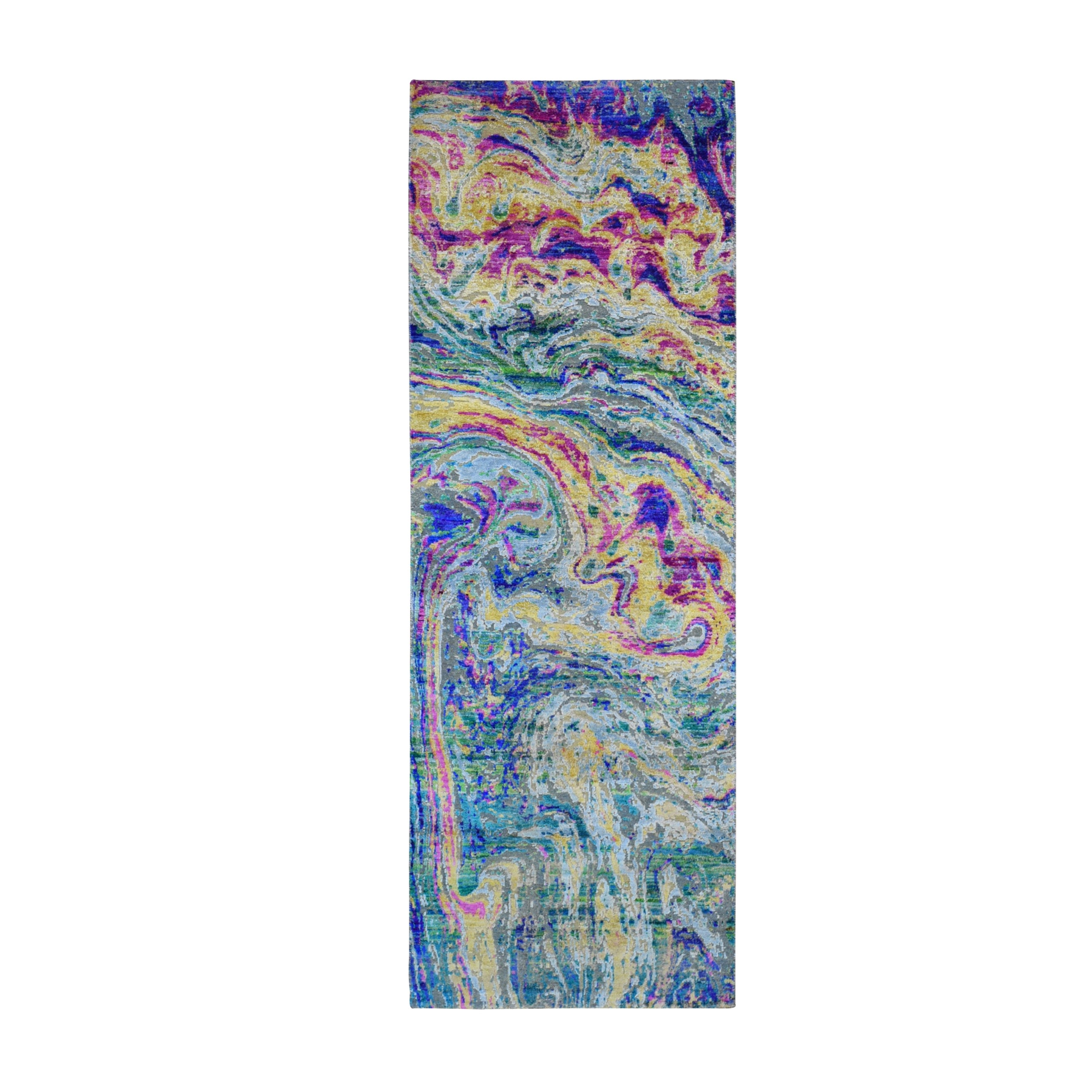 """2'9""""X8'2"""" Colorful Sari Silk With Textured Wool The Lava Design Runner Hand Knotted Oriental Rug moae9bd0"""