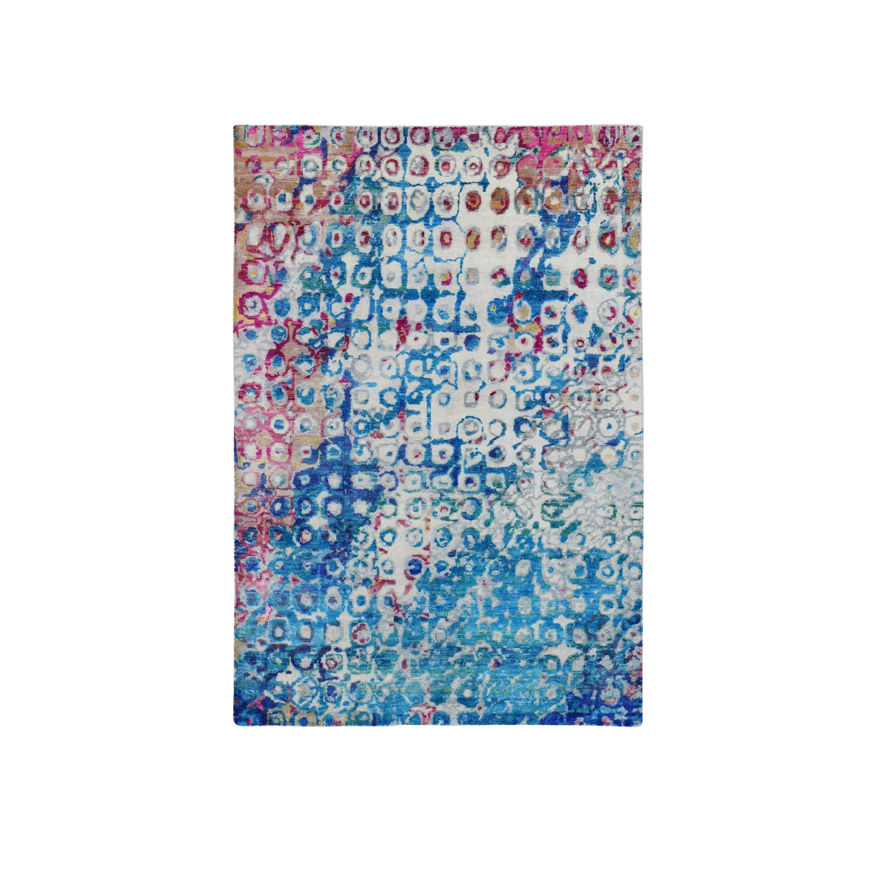 """4'X6'1"""" The Peacock, Sari Silk Colorful Hand Knotted Oriental Rug moae9bde"""