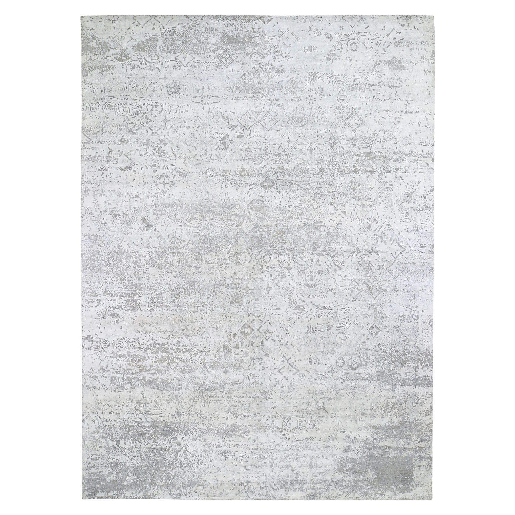 """8'10""""X12' Ivory Silk With Textured Wool Dimensional Design Hand Knotted Oriental Rug moae9bd8"""