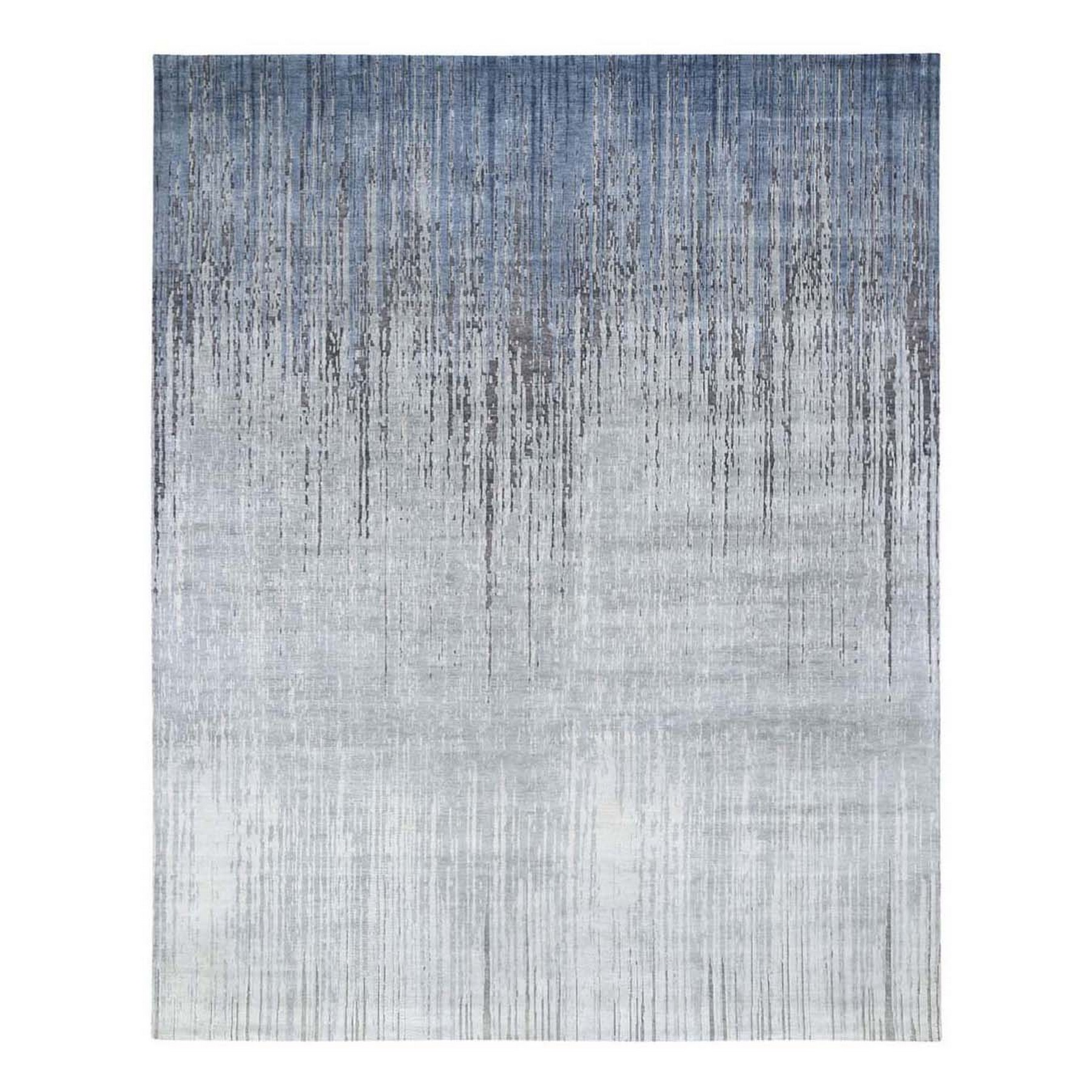 8'X10' Gray Ombre Design Pure Silk Hand Knotted Oriental Rug moae9bd9
