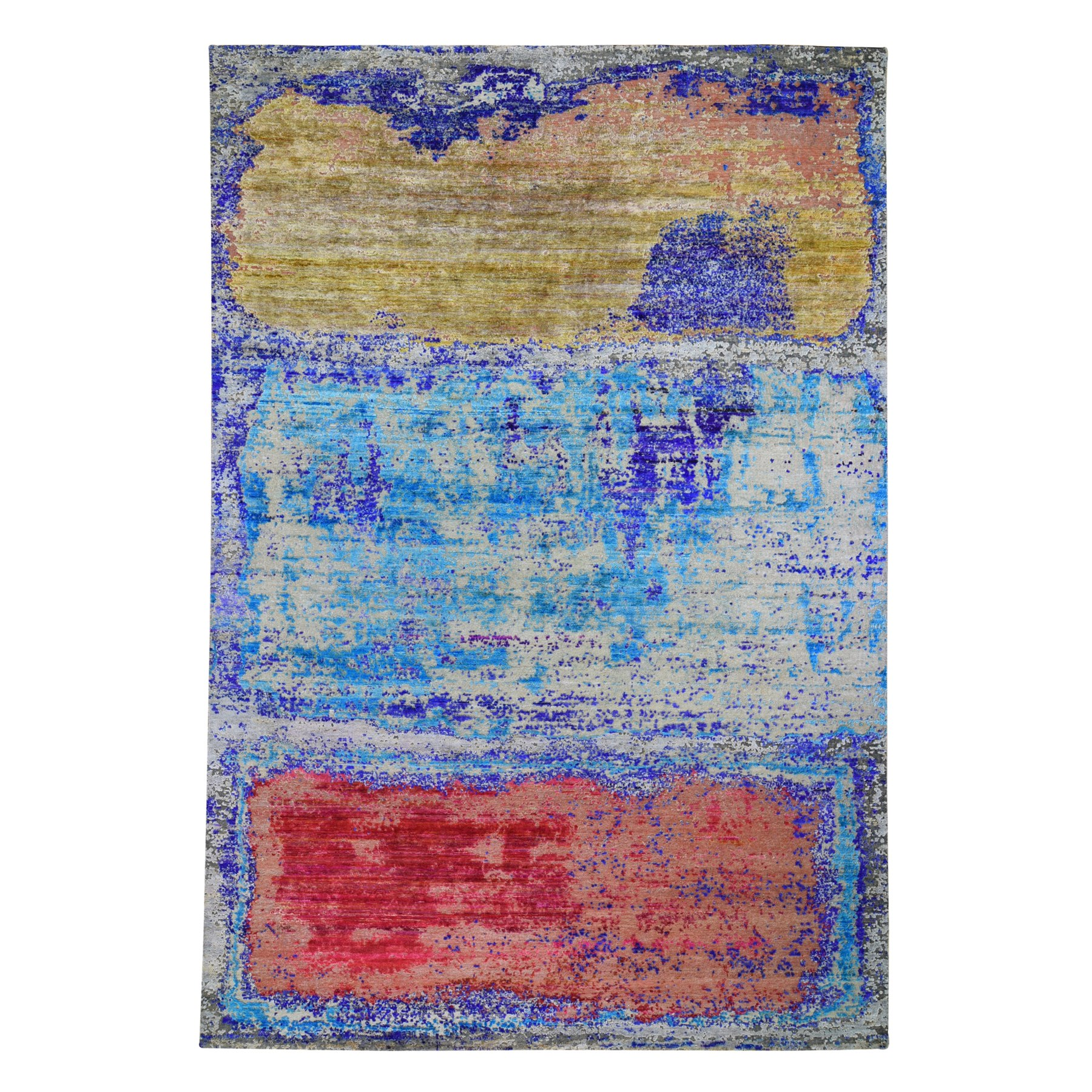 "9'8""X14' Rothko Style Sari Silk With Textured Wool Hand Knotted Oriental Rug moae9bec"