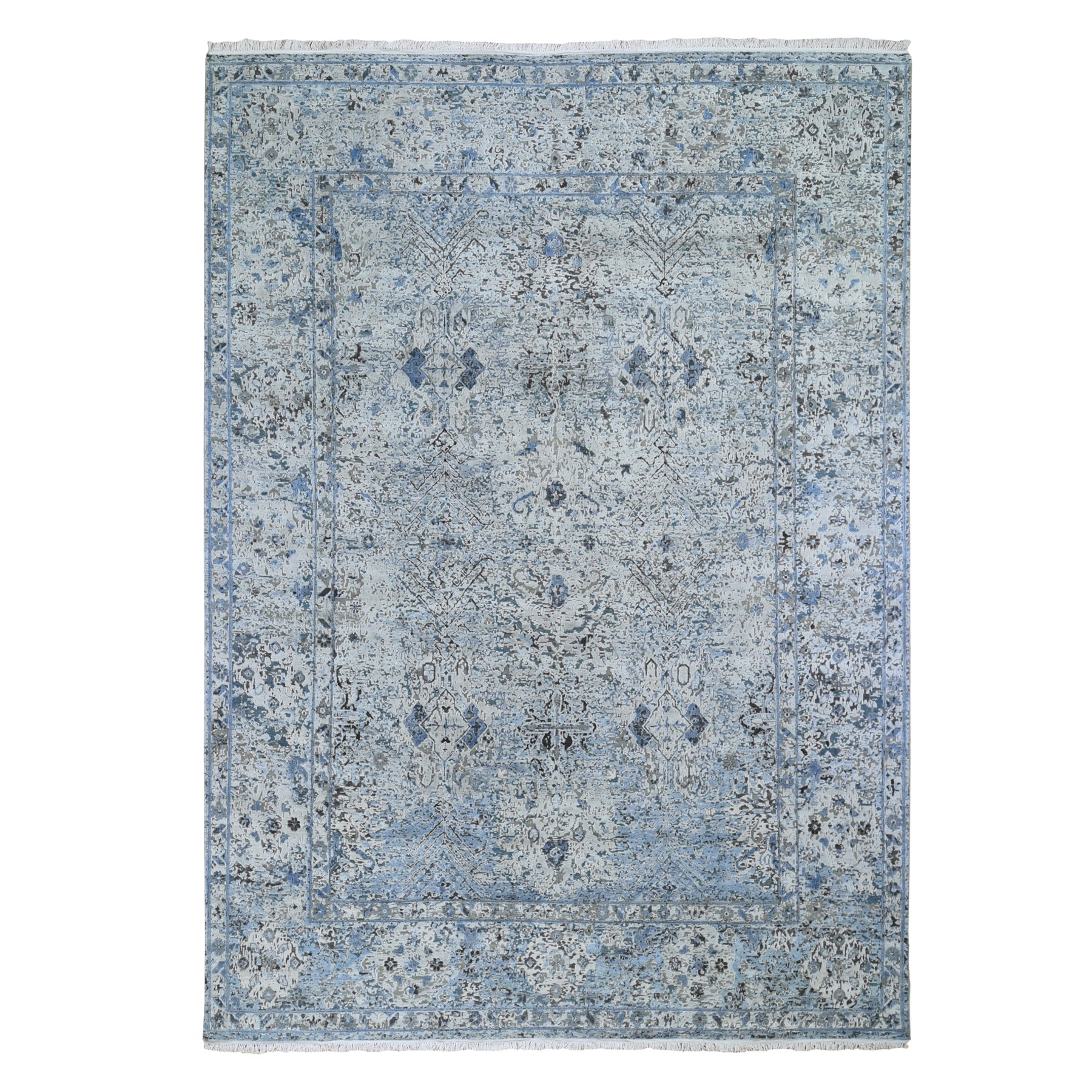 """8'10""""X12' Distressed Oushak Pure Silk With Textured Wool Runner Hand Knotted Oriental Rug moae9bee"""