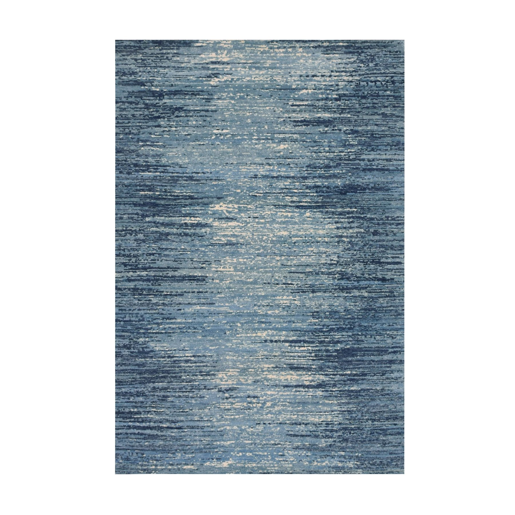 """6'X8'10"""" Blue Broken Lines Design Pure Wool Hand Knotted Oriental Rug moae9be6"""