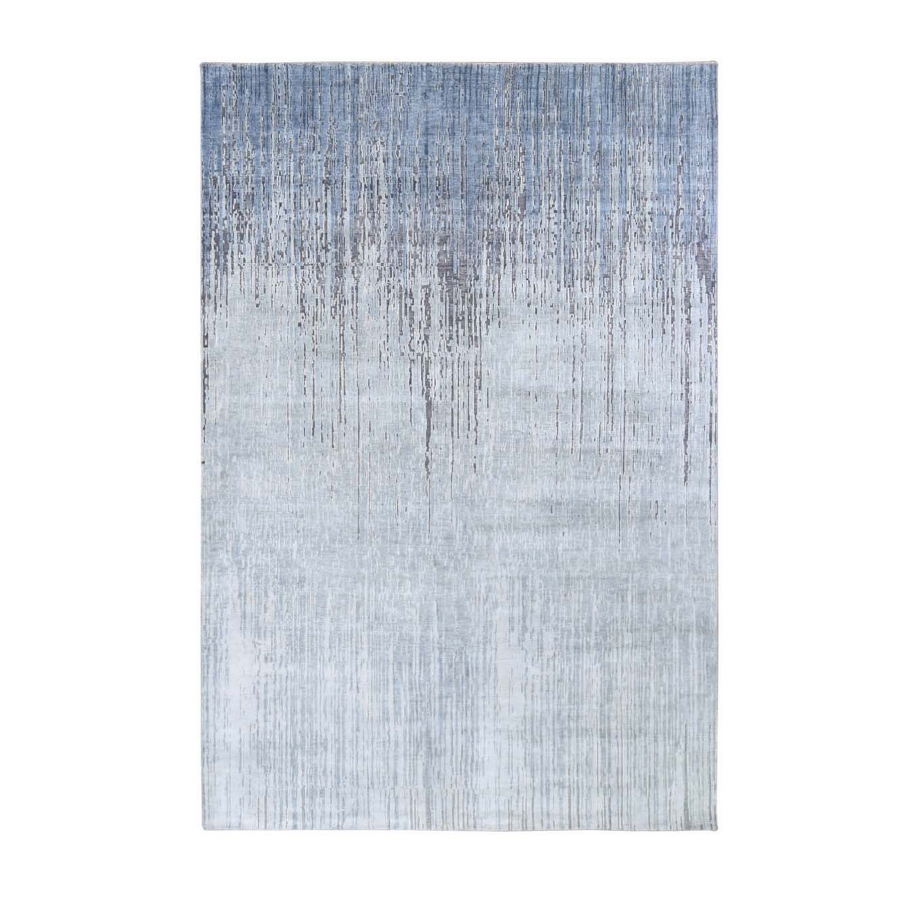 "6'X8'10"" Gray Ombre Design Pure Silk Hand Knotted Oriental Rug moae9be7"