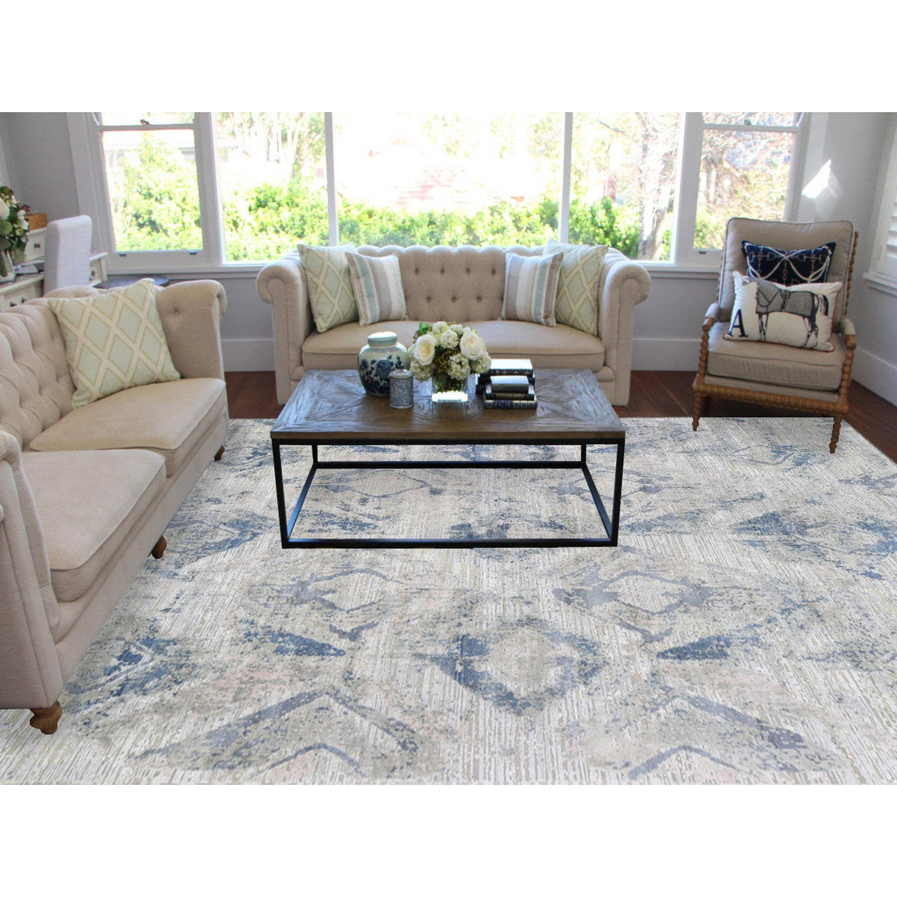 "8'10""x12'1"" Ivory Large Elements with Pastels Silk With Textured Wool Modern Rug"