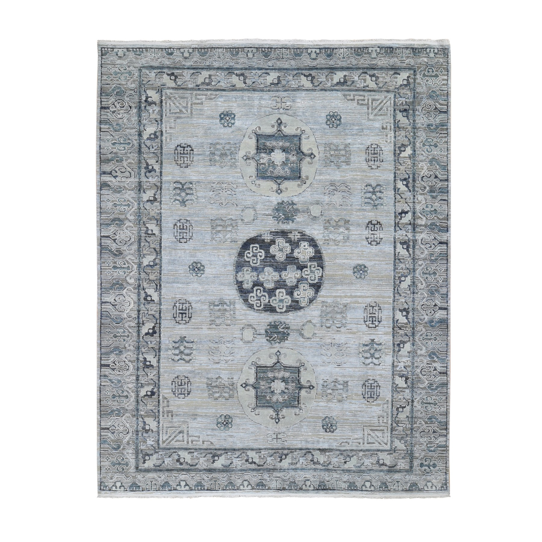 """7'9""""X9'10"""" Pure Silk With Textured Wool Khotan Design Hand Knotted Oriental Rug moae9b6a"""