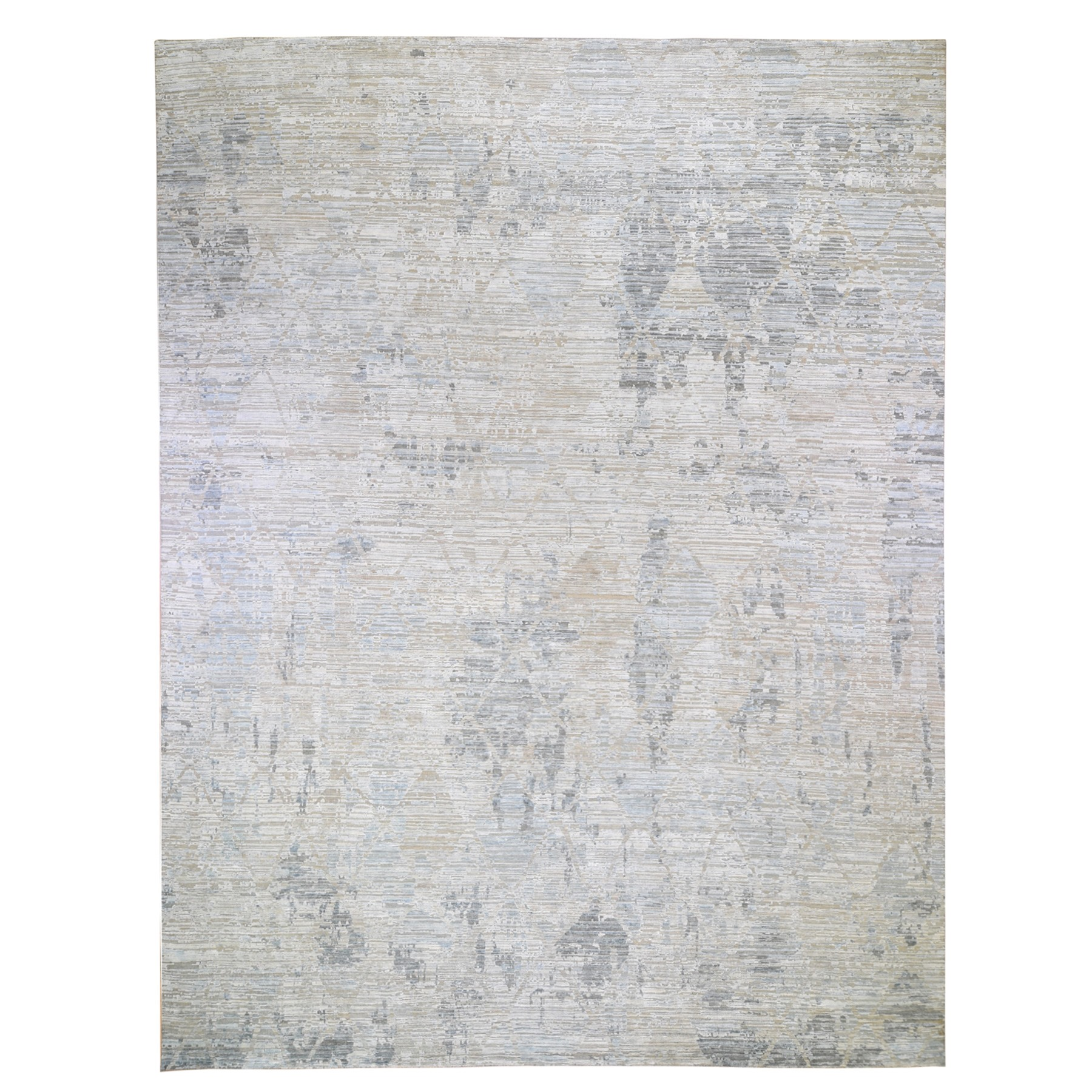 """12'X15'1"""" The Pastel Collection, Oversized Silk With Textured Wool Hand Knotted Oriental Rug moae9b6b"""
