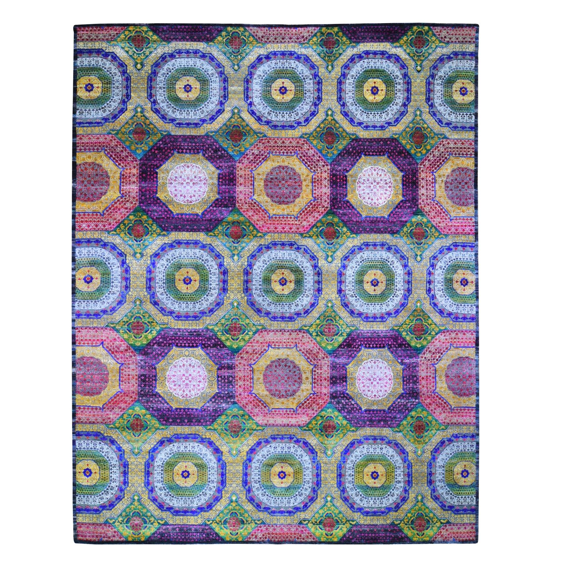 "12'X15'3"" Oversized Sari Silk With Textured Wool Mamluk Design Hand Knotted Oriental Rug moae9b6c"