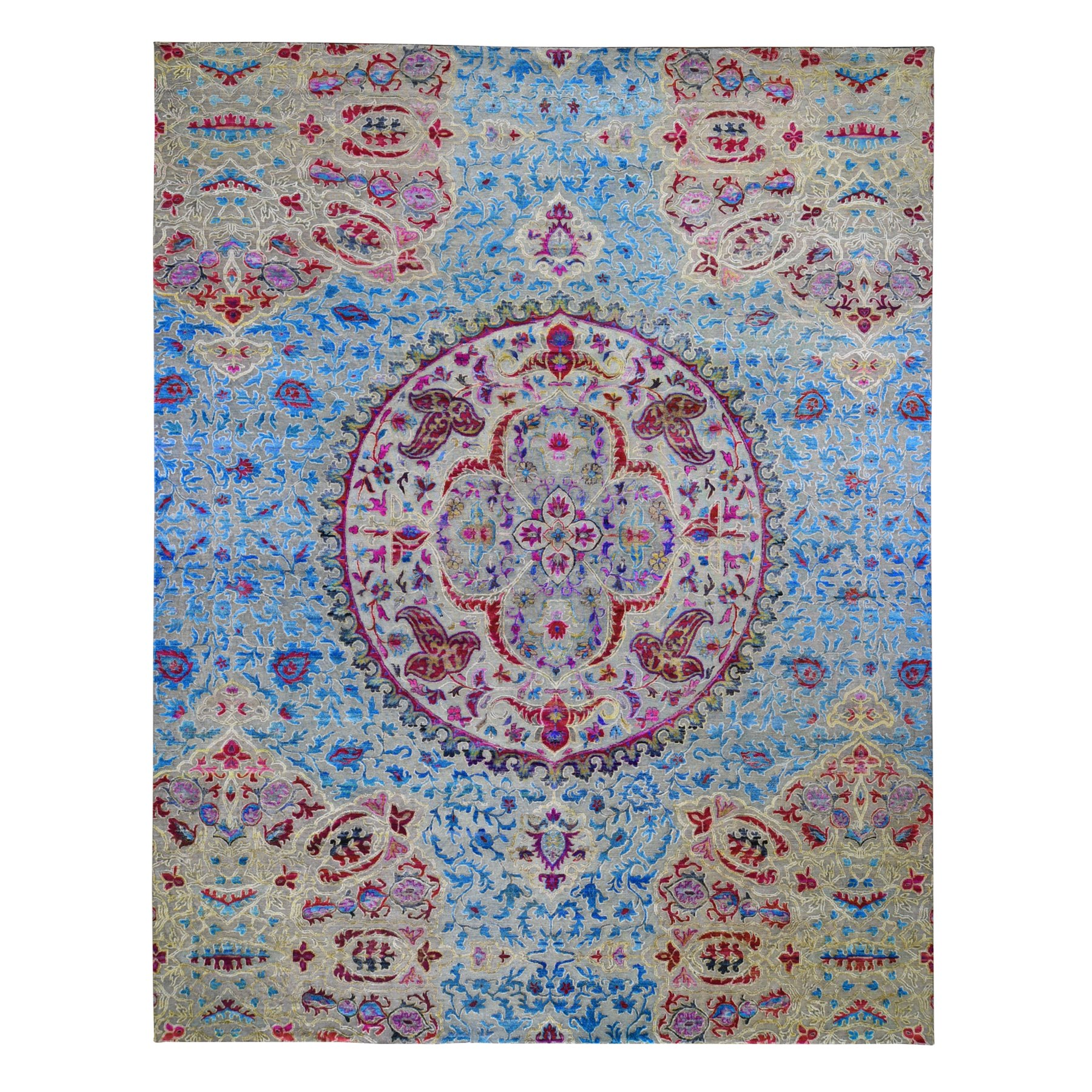 """11'10""""X15' Oversized Sari Silk And Textured Wool Colorful Maharaja Hand Knotted Oriental Rug moae9b6d"""