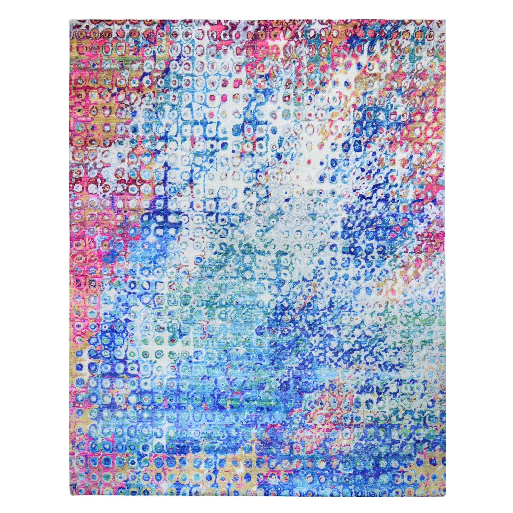 """11'10""""X15'  The Peacock, Oversized Sari Silk Colorful Hand Knotted Oriental Rug moae9b6e"""