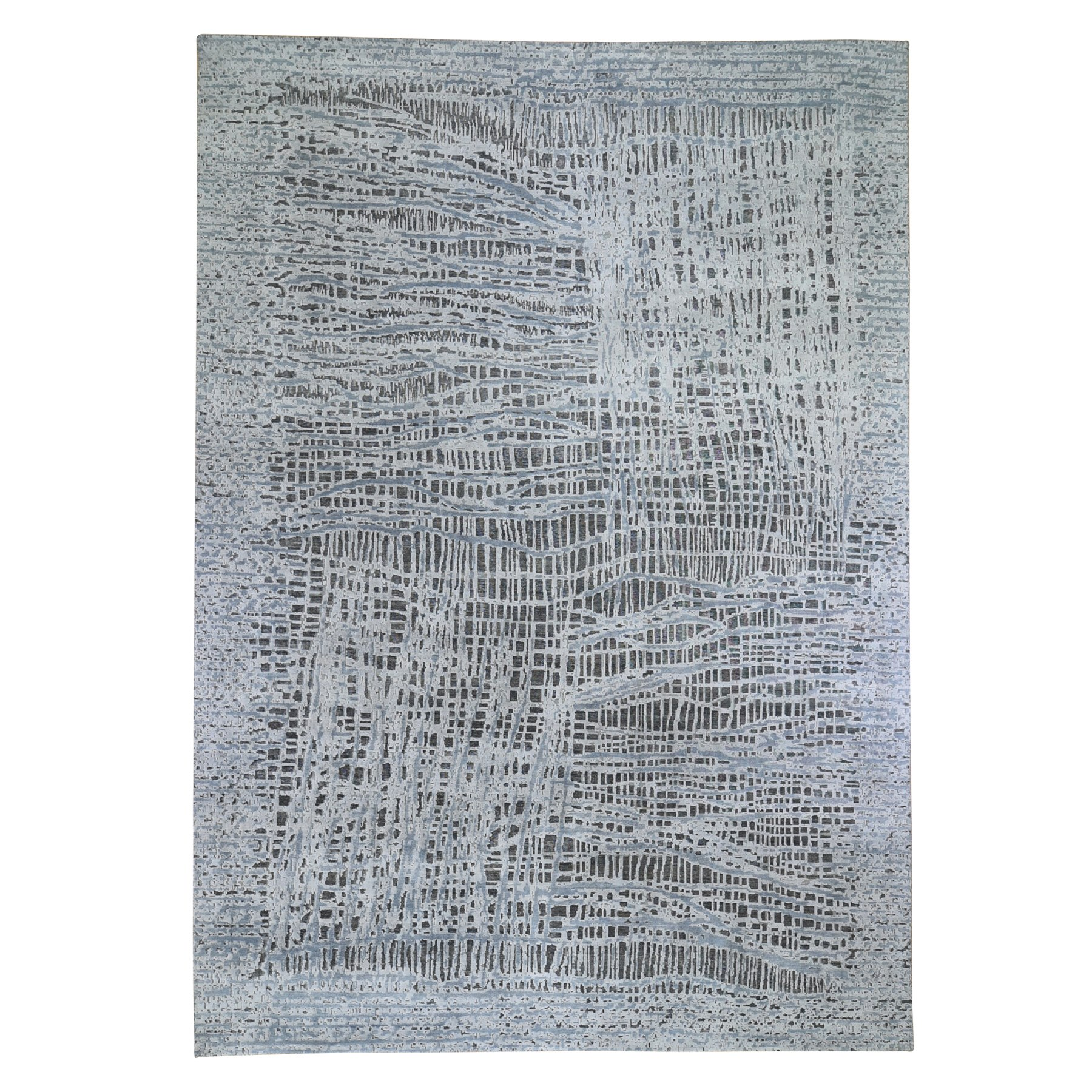 """10'x14'1"""" THE LOST BRANCHES, Pure Silk With Textured Wool Hand Knotted Oriental Rug"""