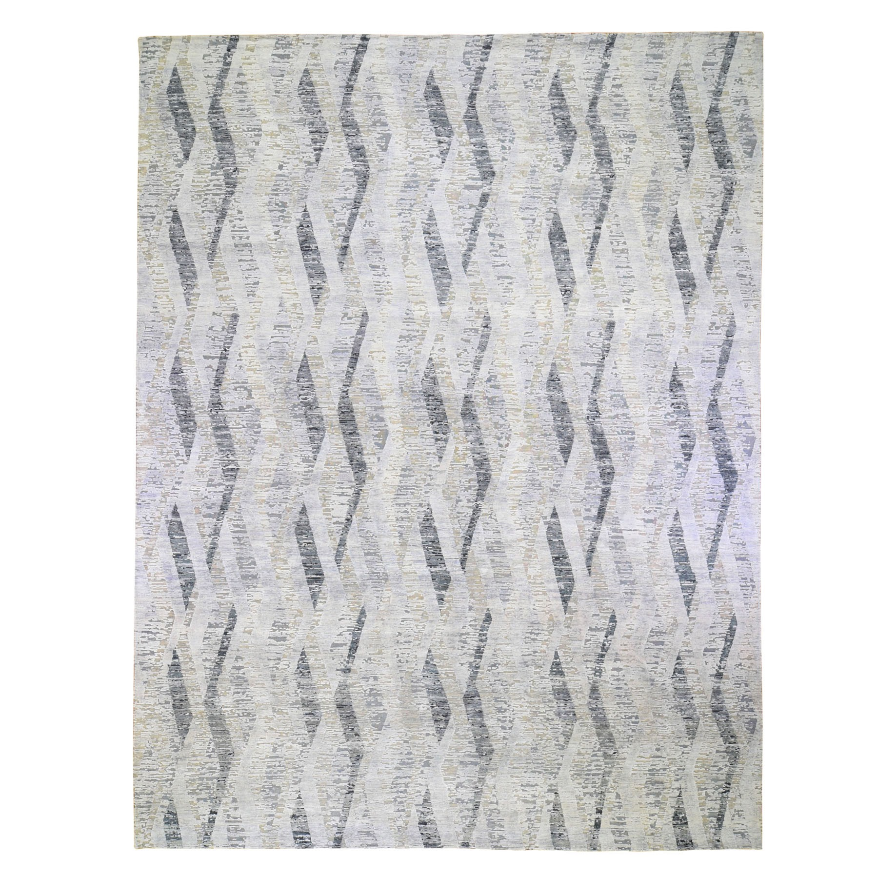 """11'10""""X15'2"""" Dimensional Curtains Gray Oversized Silk With Textured Wool Hand Knotted Oriental Rug moae9b68"""