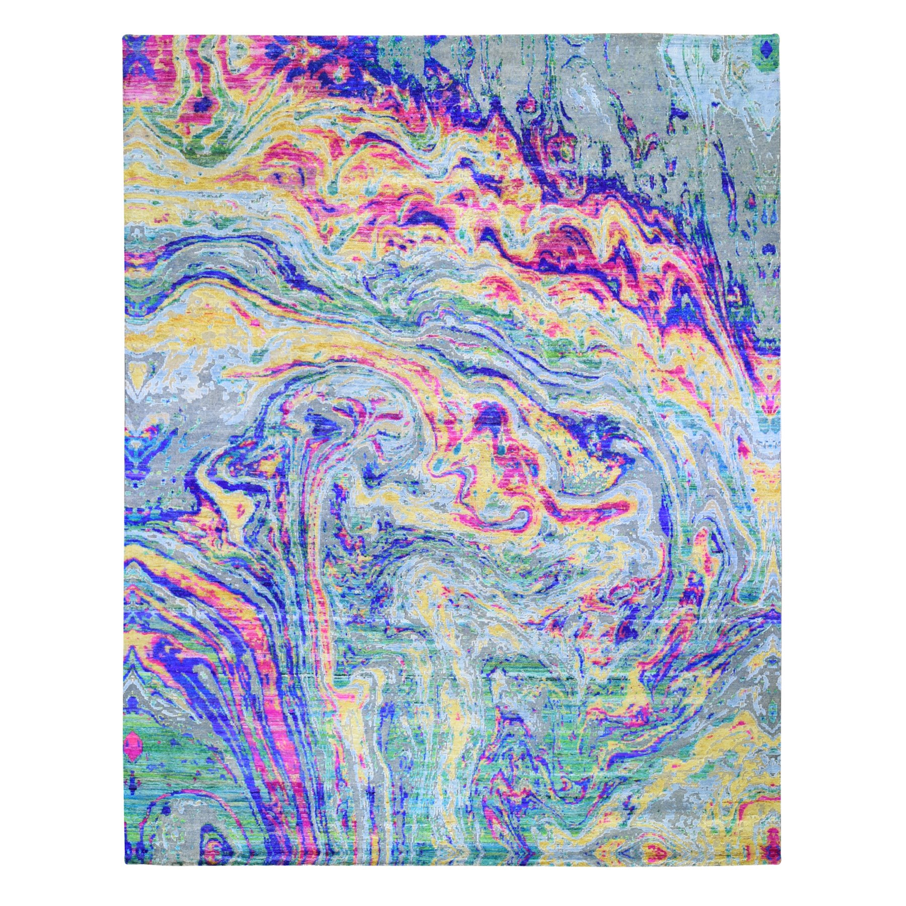 """11'7""""X14'5"""" The Lava, Oversized Colorful Sari Silk With Textured Wool Hand Knotted Oriental Rug moae9b70"""