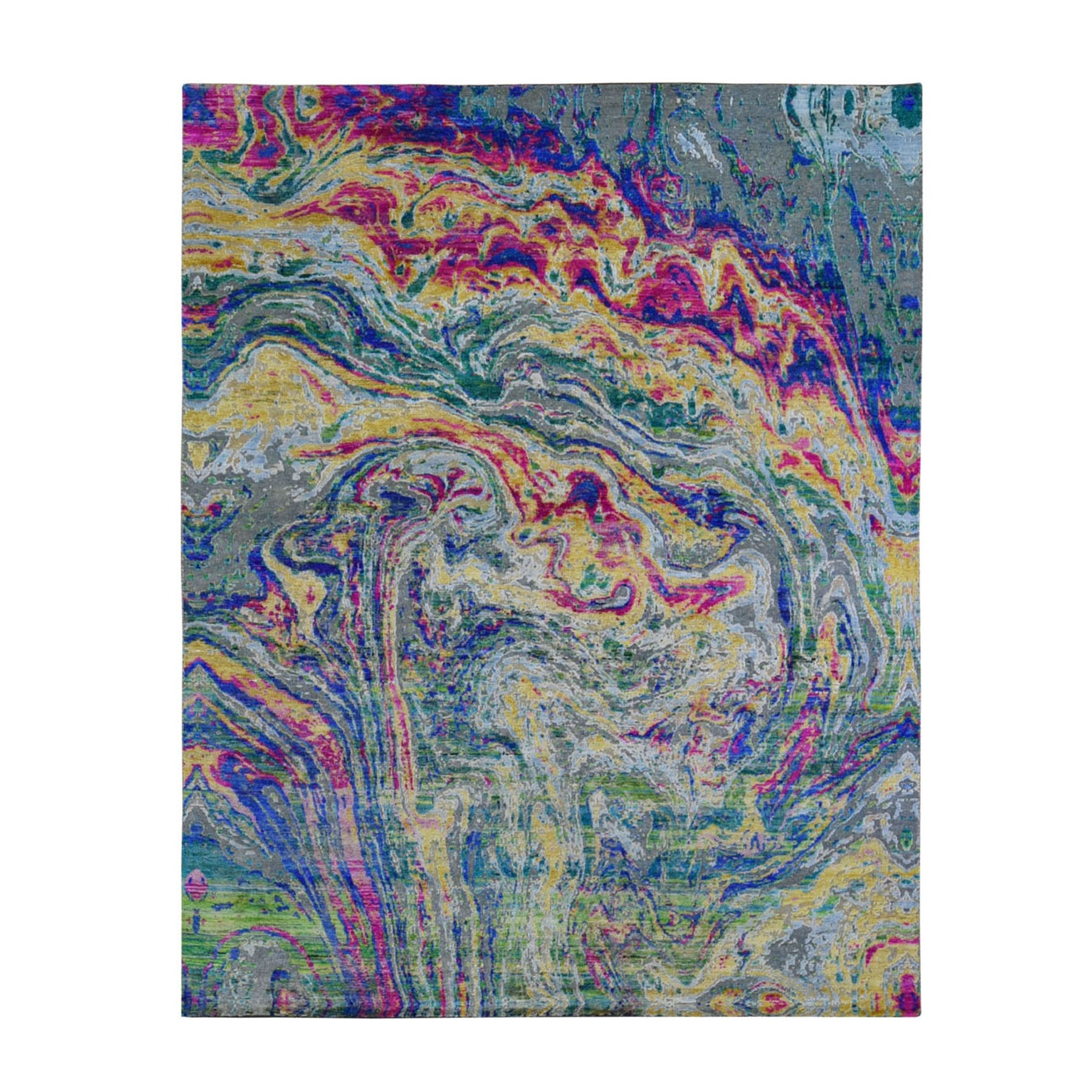 """7'9""""X10' The Lava, Colorful Sari Silk With Textured Wool Hand Knotted Oriental Rug moae9b7b"""