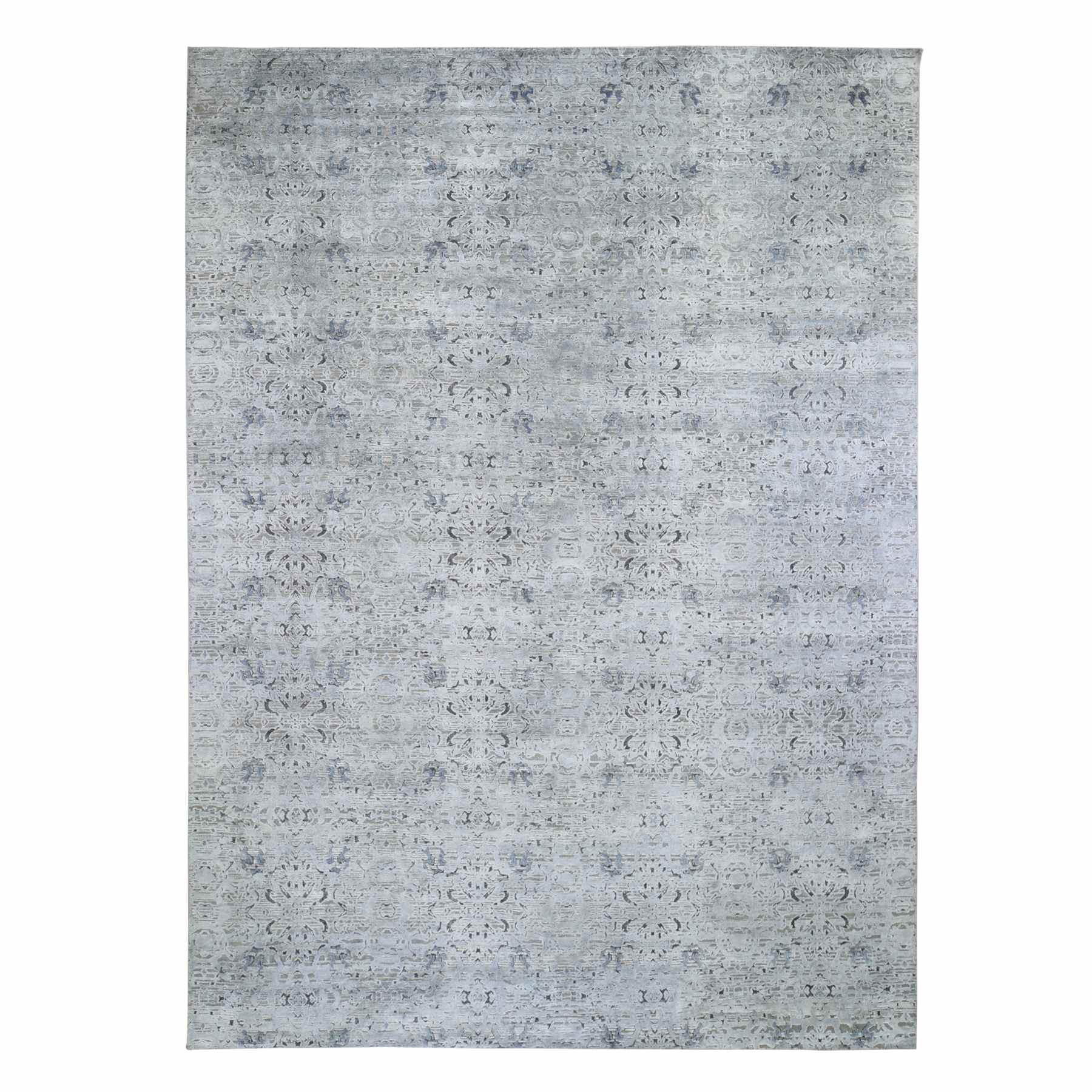 "8'10""X12'1"" Pure Silk With Textured Wool Tone On Tone Hand Knotted Oriental Rug moae9b7c"