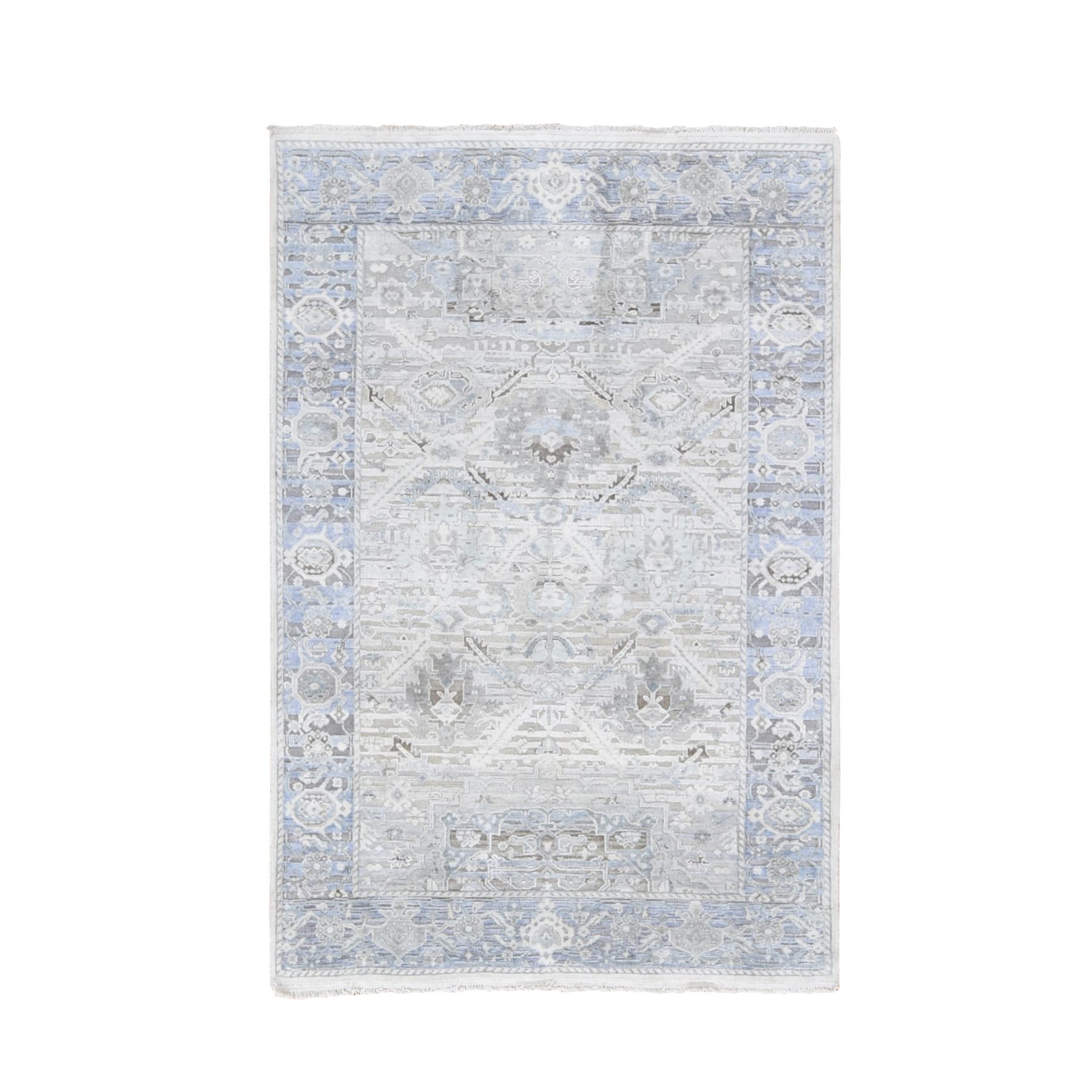 "4'X6'2"" Hand Knotted Pure Silk And Textured Wool Oushak With Geometric Motif Oriental Rug moae9b7e"