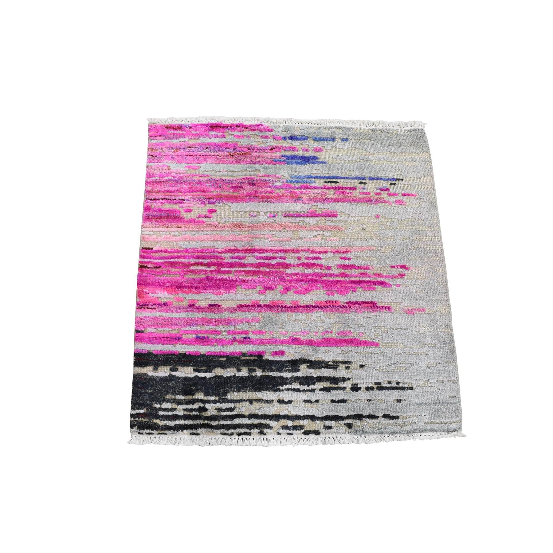2'X2' Erased Horizontal Line Design ,Pink Sari Silk With Textured Wool Oriental Rug moae9b79