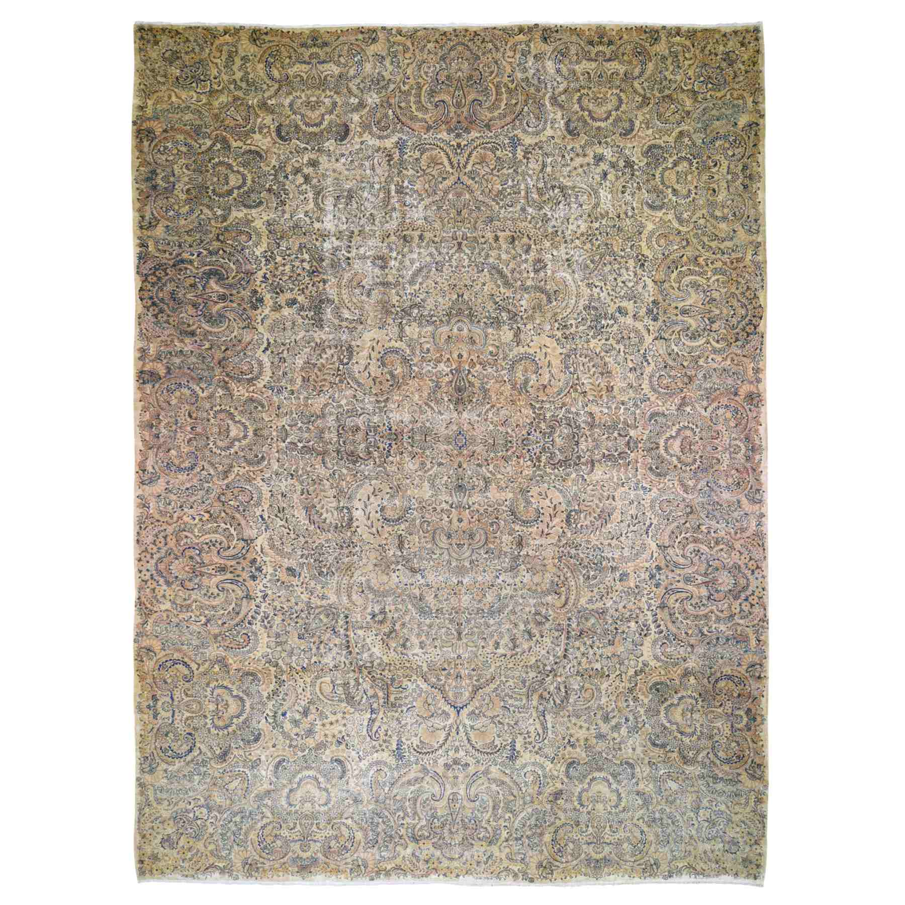 "11'5""X17'8"" Oversized Antique Persian Kerman, Soft Colors, Even Wear Hand Knotted Oriental Rug moae9b8d"