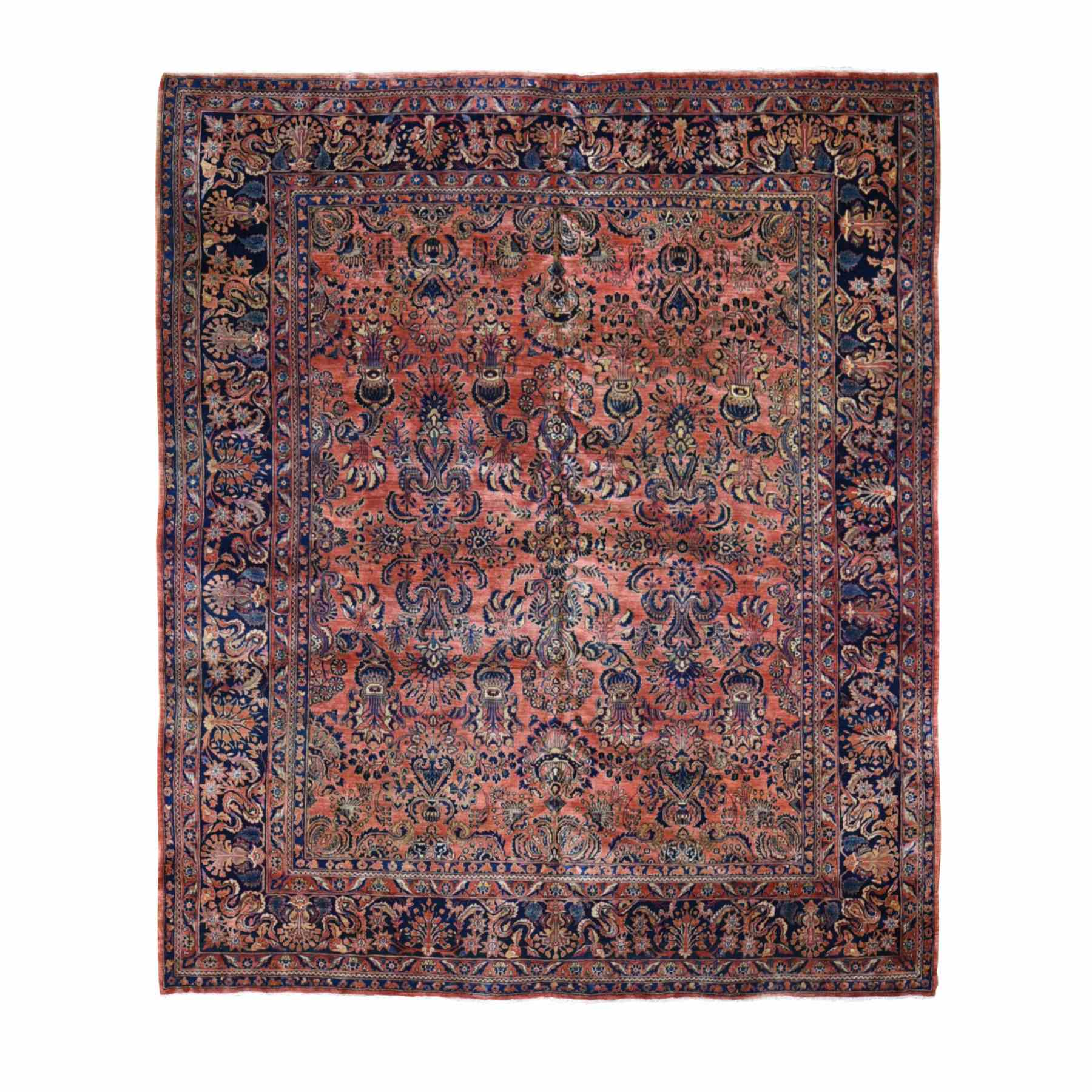 "10'4""X11'7"" Coral Antique Persian Sarouk, Full Pile, Soft, Clean, Squarish Hand Knotted Oriental Rug moae9b8e"