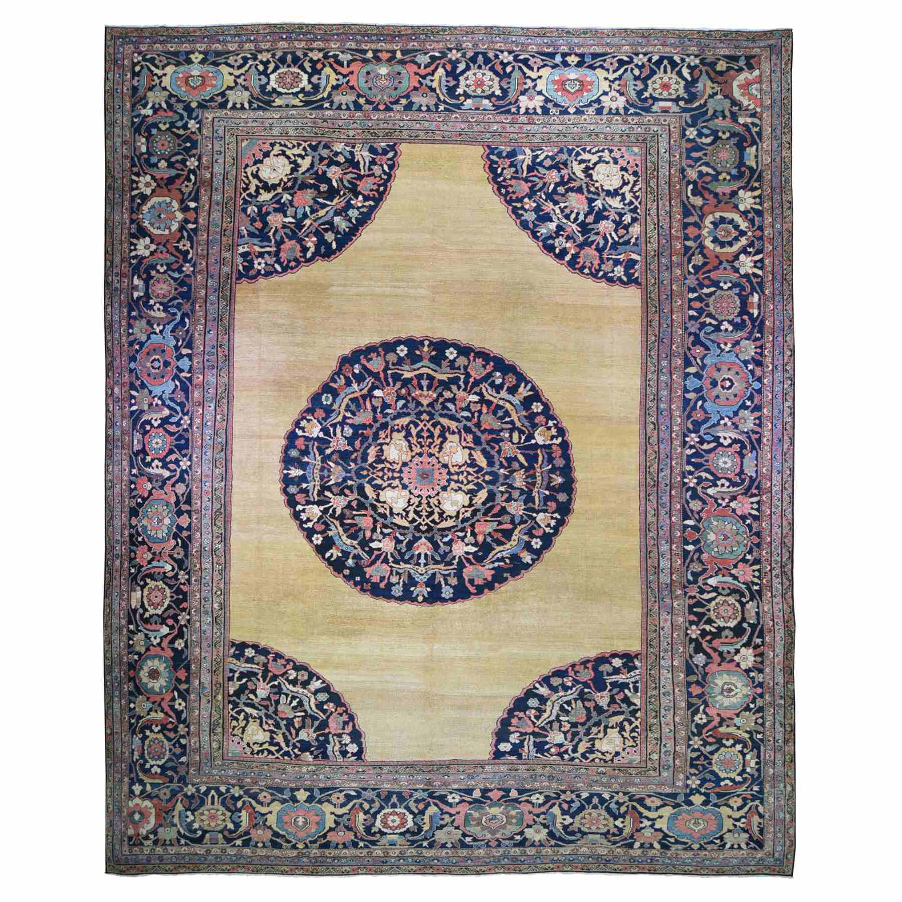 "16'3""x19'10"" Yellow Oversized Antique Persian Sultanabad Clean, Even Wear, Hand Knotted Oriental Rug"
