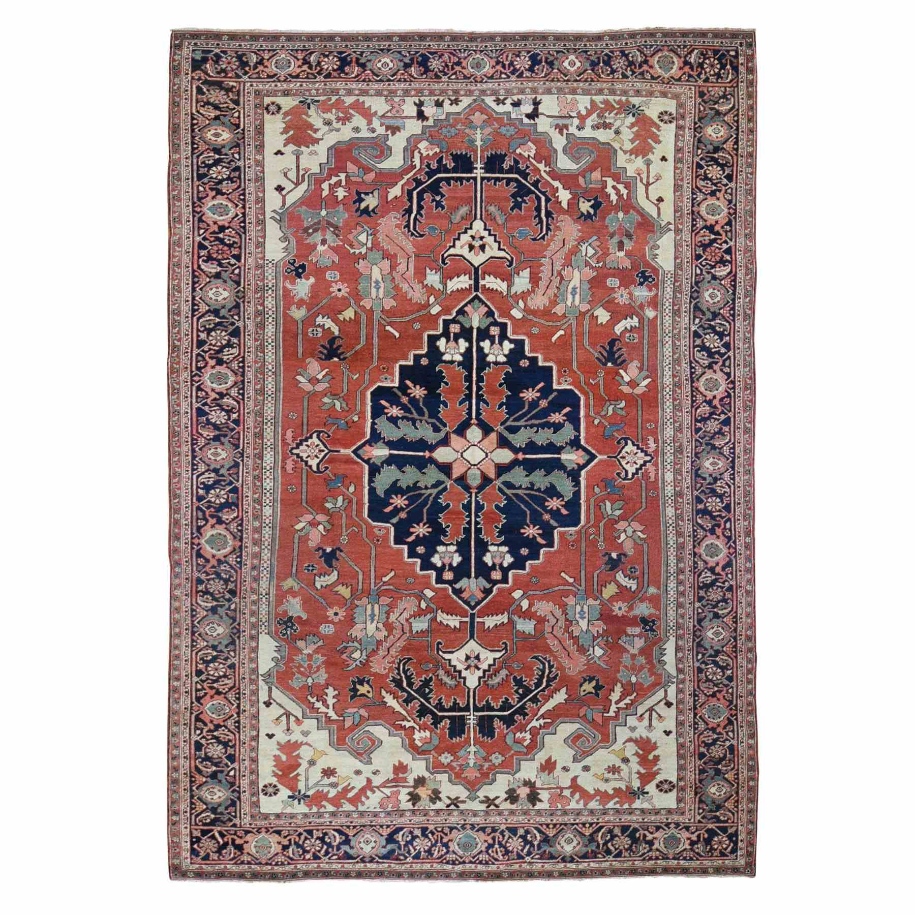 "8'5""X12'2"" Red Antique Persian Serapi , Clean, Even Wear, Hand Knotted Oriental Rug moae9b87"