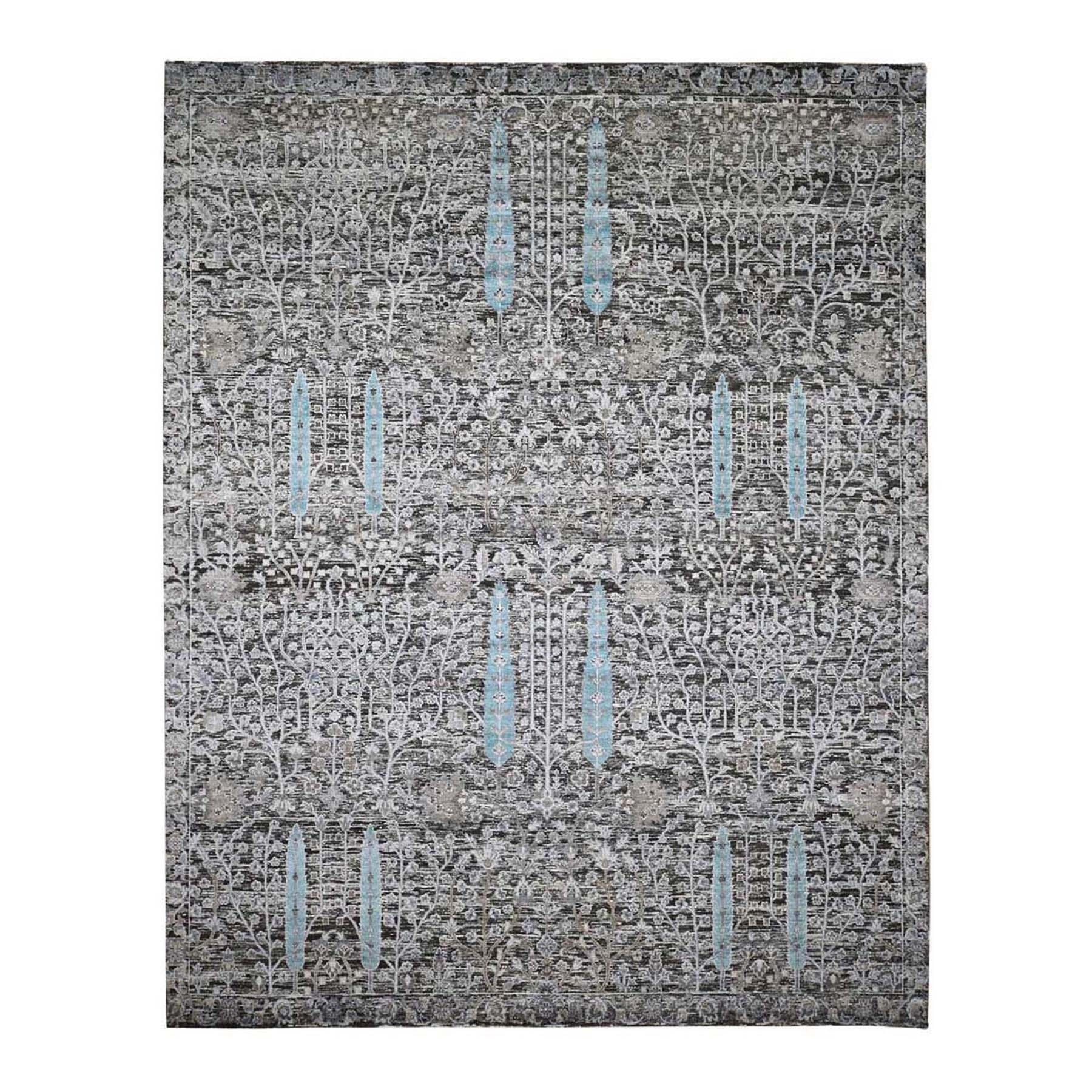 "8'X9'10"" Cypress Tree Design Silk With Textured Wool Hand Knotted Rug moae9b9b"