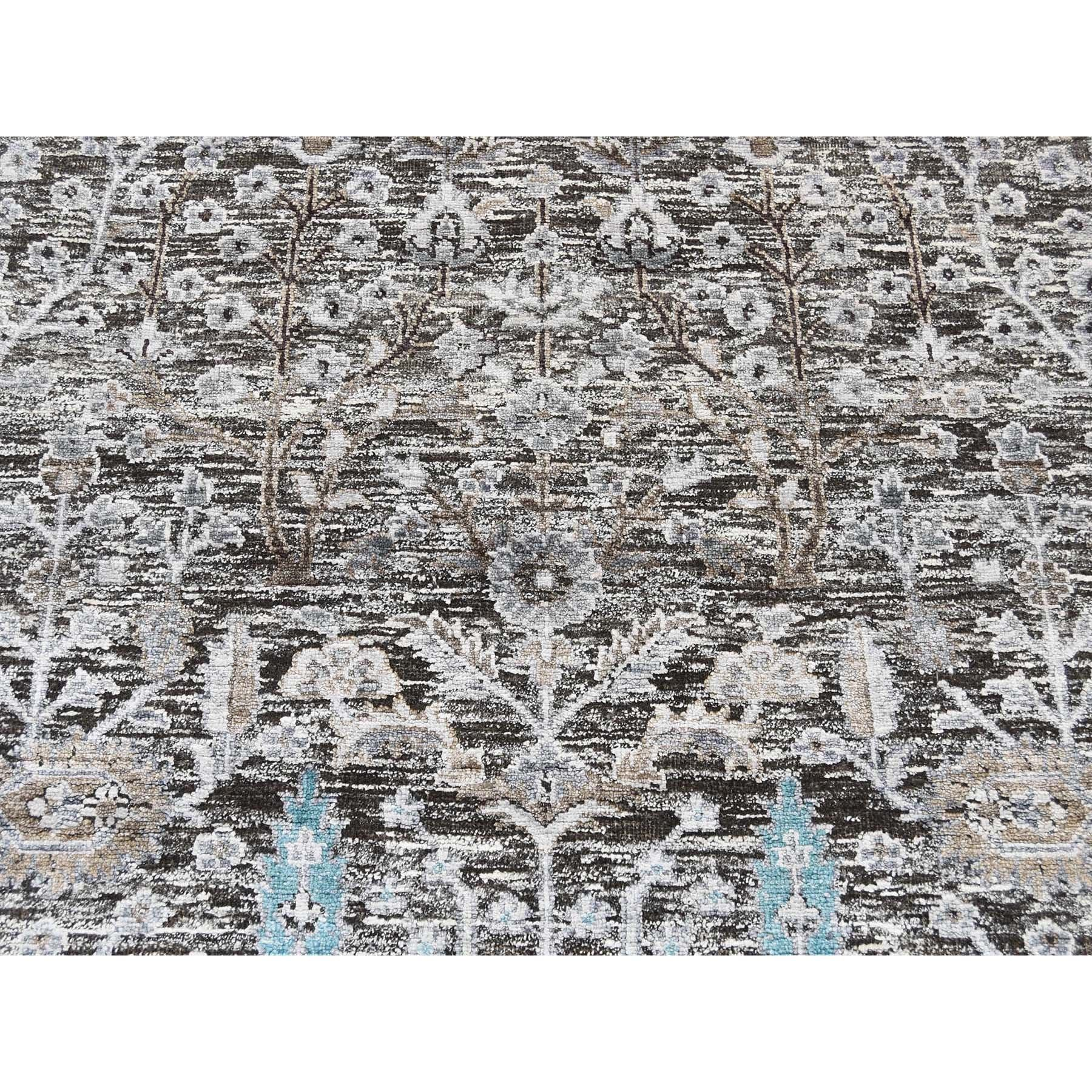 "8'x9'10"" Cypress Tree Design Silk With Textured Wool Hand Knotted Rug"