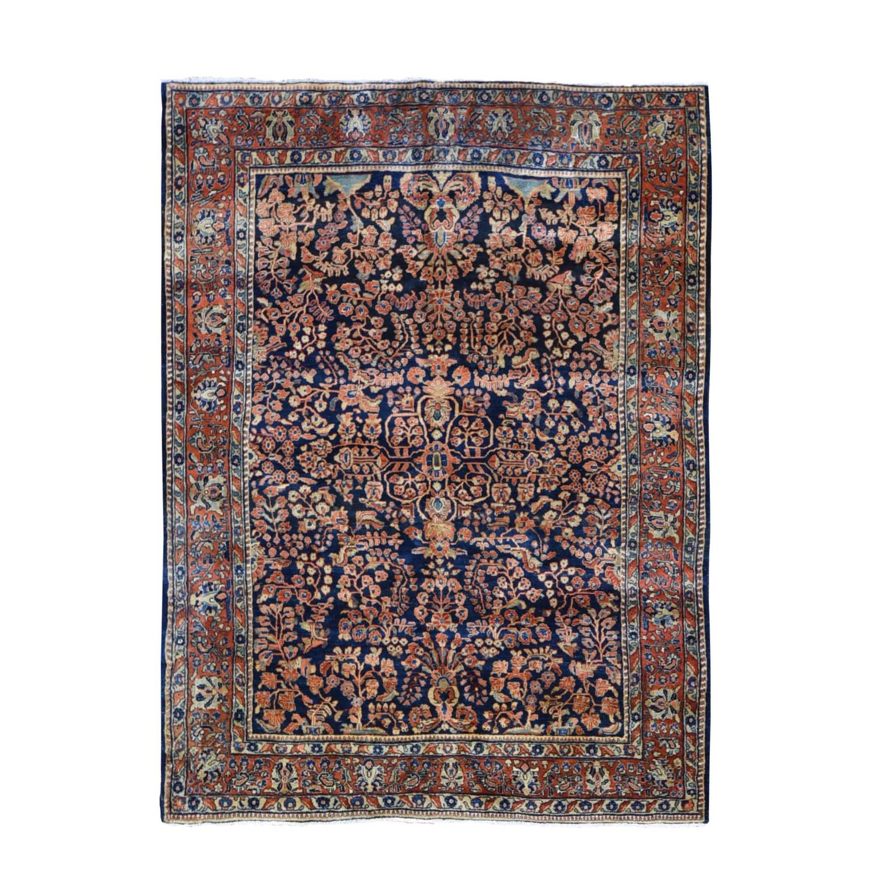 "6'3""X8'4"" Navy Blue Antique Persian Sarouk ,Full Pile, Soft, Clean, Exc Cond ,Hand Knotted Oriental Rug moae9b9d"