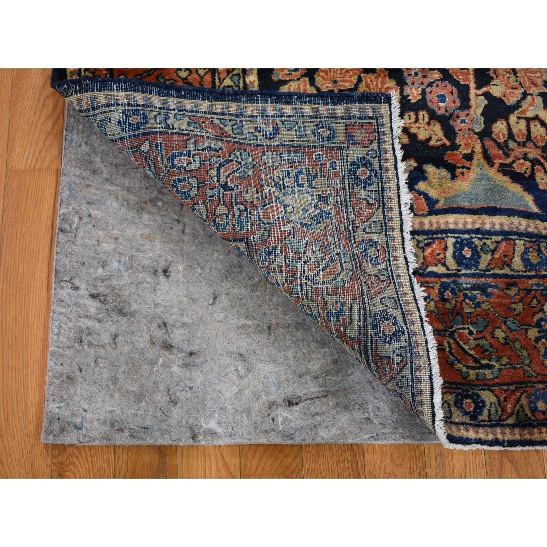 """6'3""""x8'4"""" Navy Blue Antique Persian Sarouk ,Full Pile, Soft, Clean, Exc Cond ,Hand Knotted Oriental Rug"""