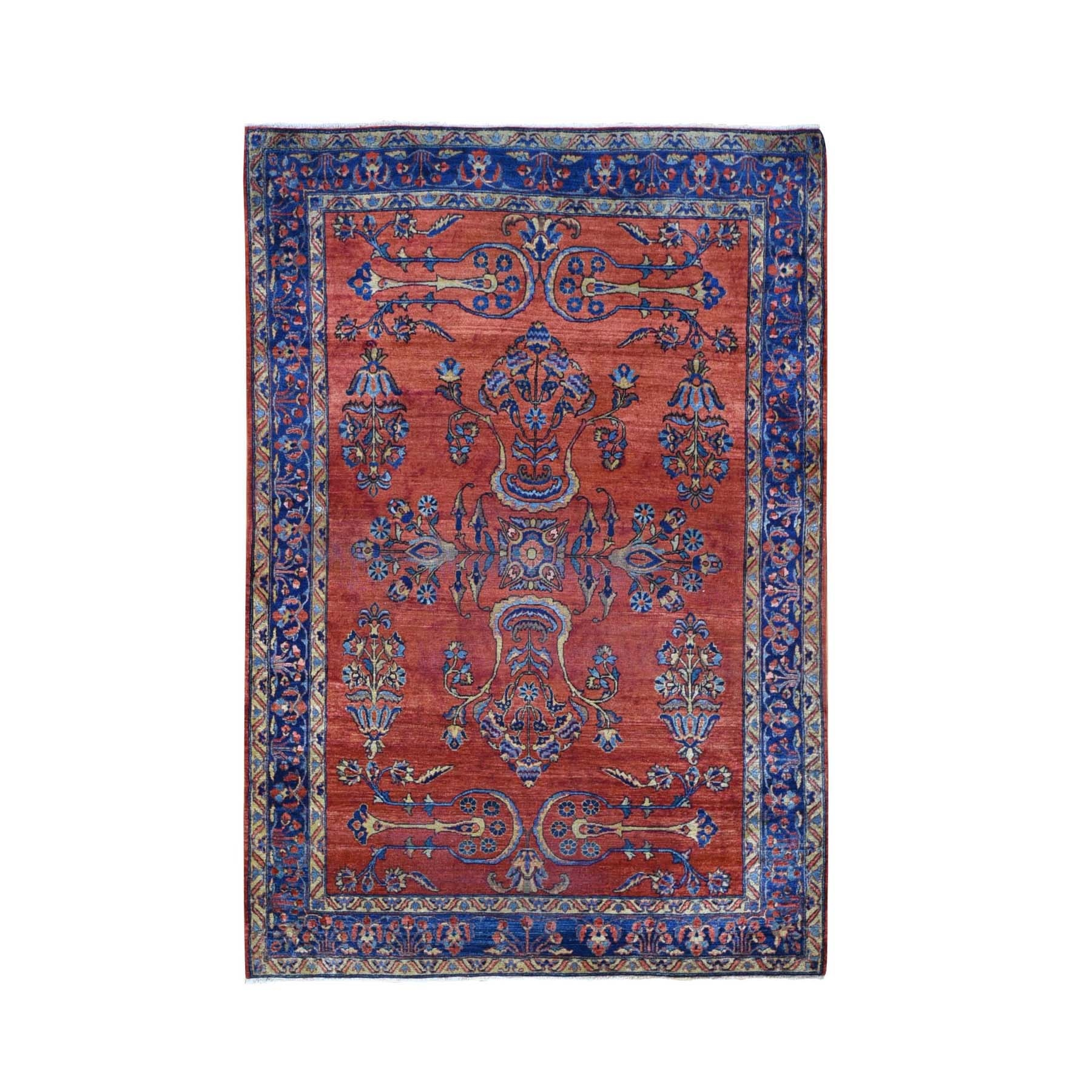 "4'3""X6'3"" Red Antique Persian Mohajeran Sarouk Some Wear Soft And Clean Hand Knotted Oriental Rug moae9b9e"