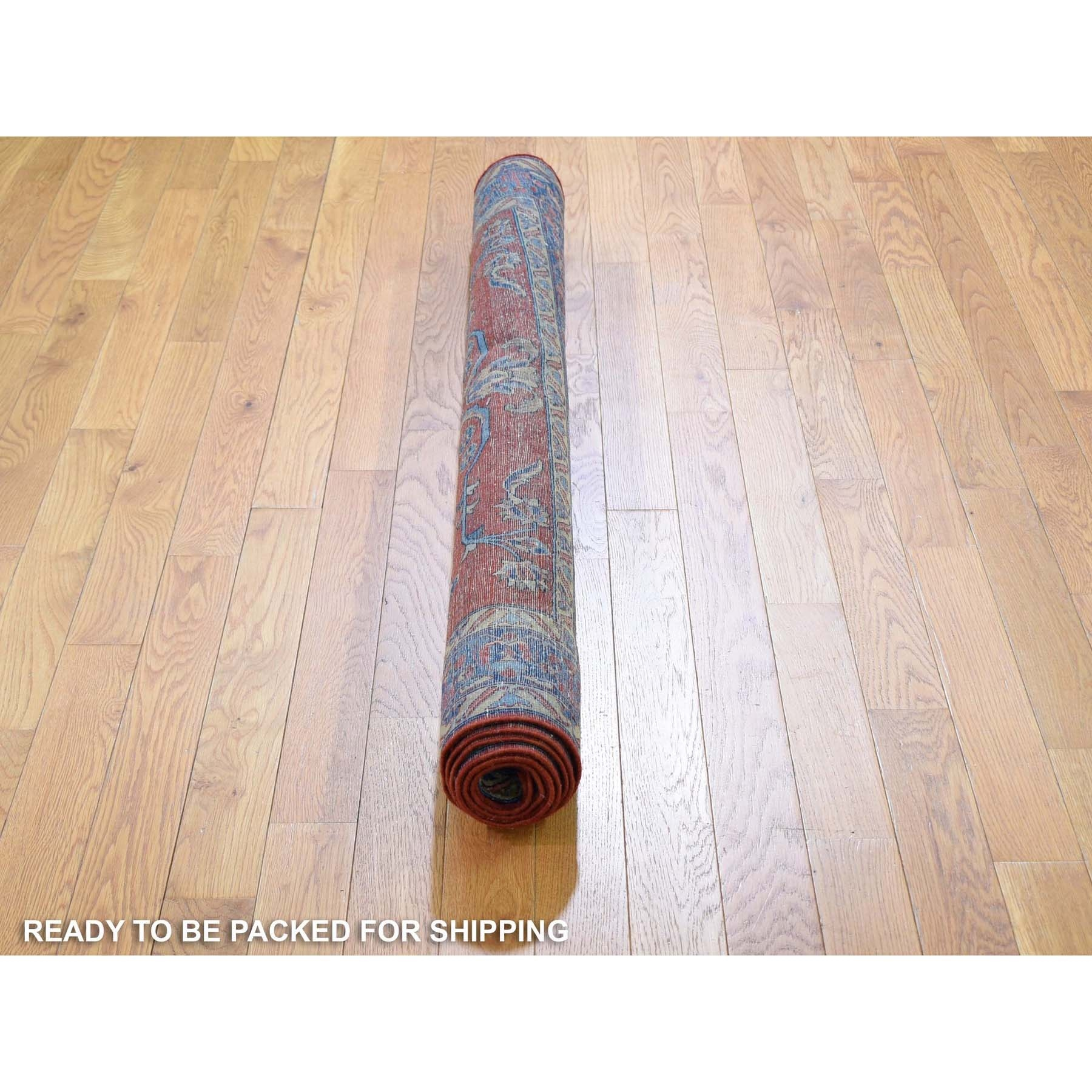 """4'3""""x6'3"""" Red Antique Persian Mohajeran Sarouk Some Wear Soft And Clean Hand Knotted Oriental Rug"""