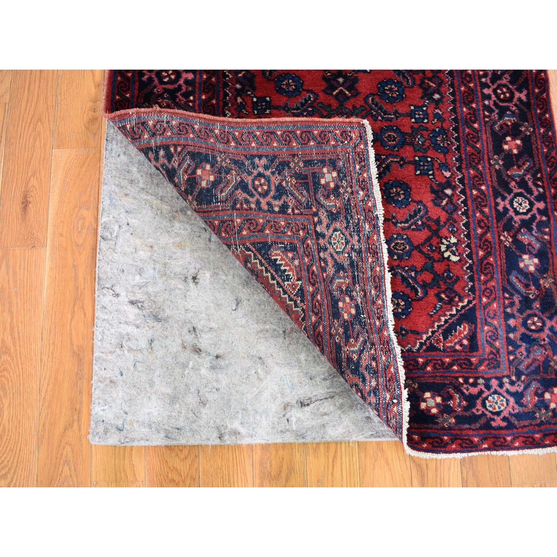 "2'8""x16'8"" Red Antique Persian Hamadan XL Runner Fish Design Dense Weave Oriental Rug"
