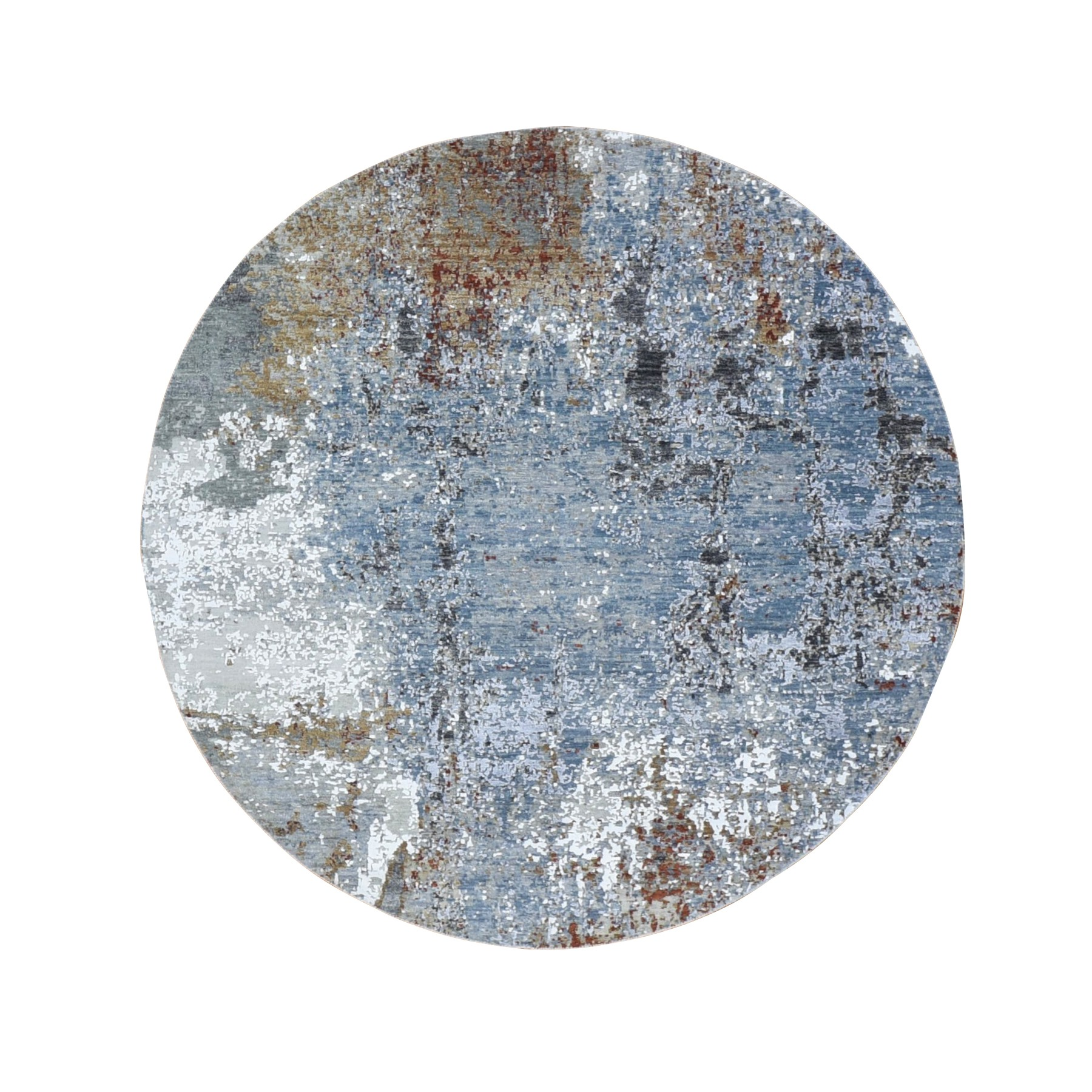 6'X6' Gray Round Abstract Design Wool And Silk Hi-Low Pile Denser Weave Hand Knotted Oriental Rug moae9b99