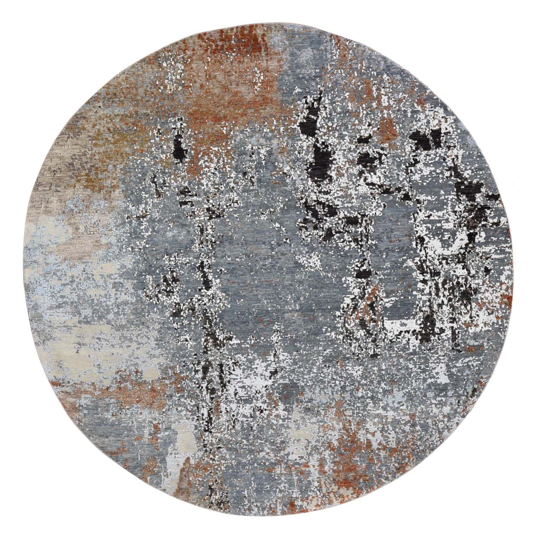 8'x8' Gray Round Abstract Design Wool And Silk Hand Knotted Oriental Rug