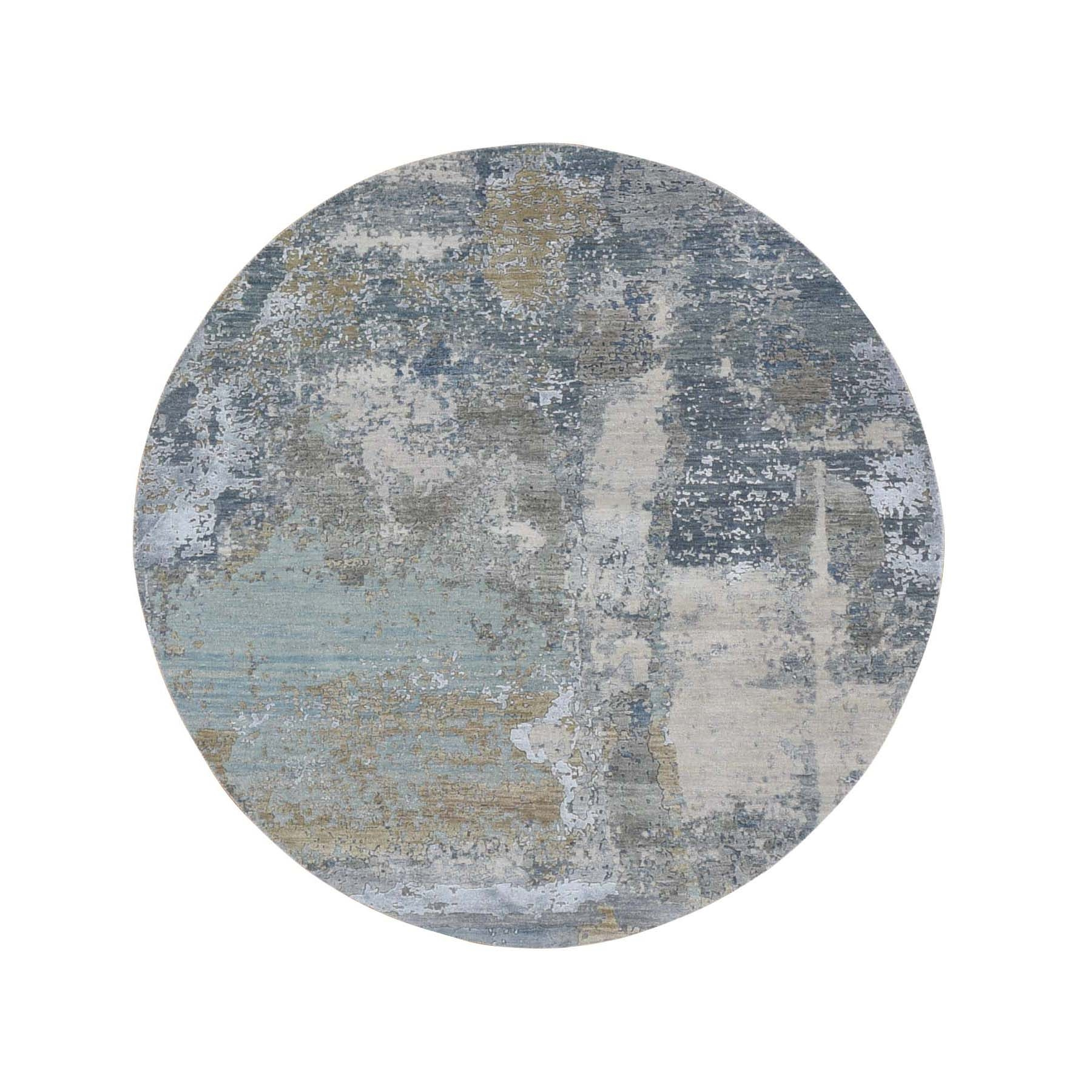 6'x6' Gray Round Abstract Design Wool and Silk Hi-Low Pile Denser Weave Hand Knotted Oriental Rug